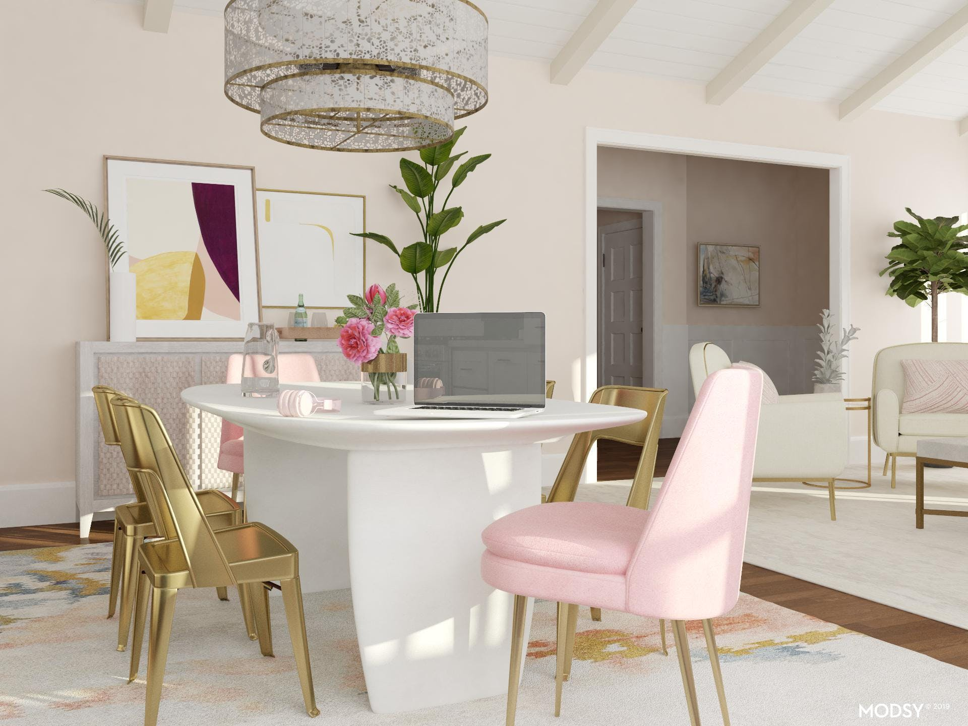 Glam Dining In Pink And Brass