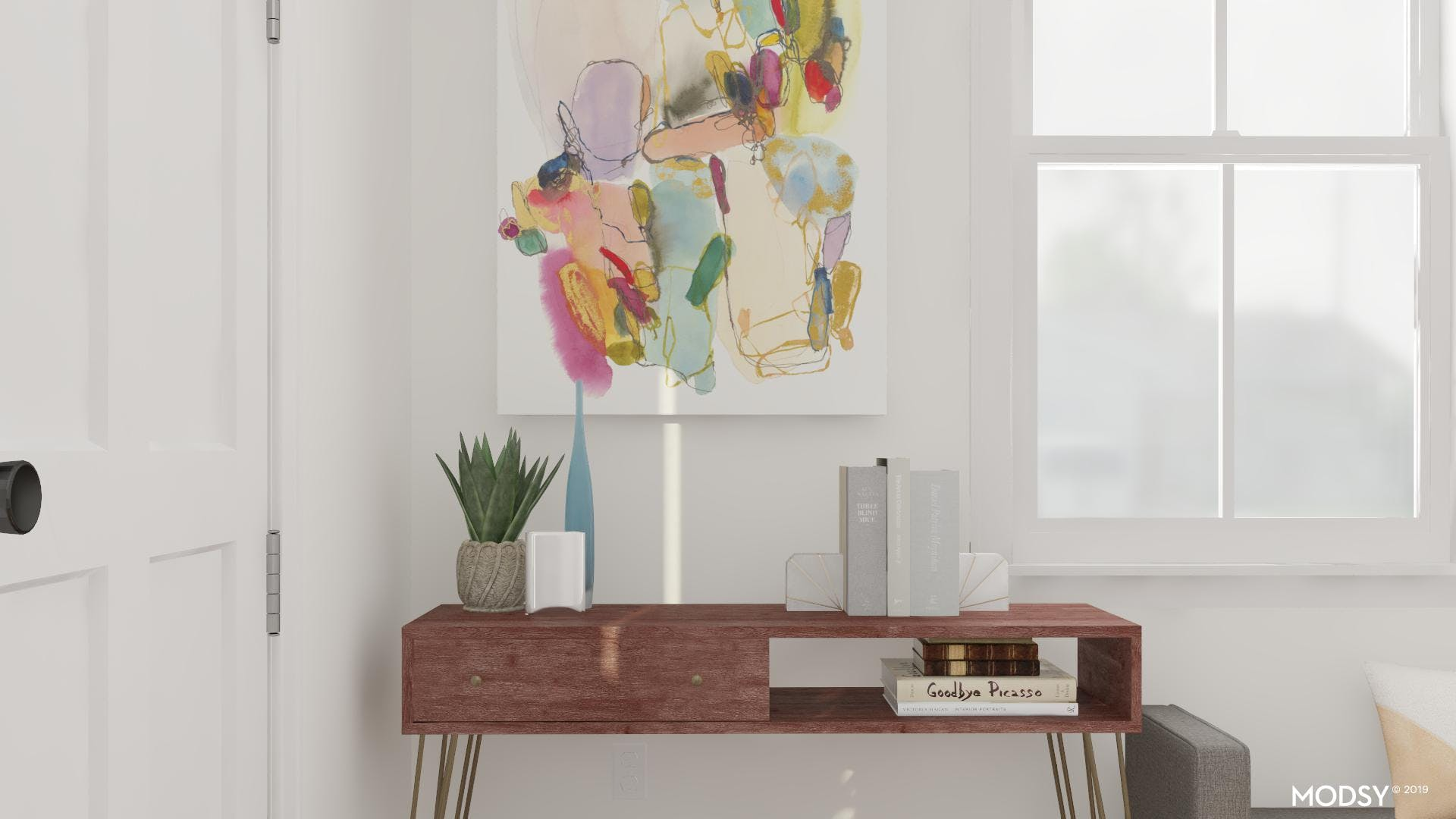 Minimal Décor Makes A Refreshing Mid-Century Entryway