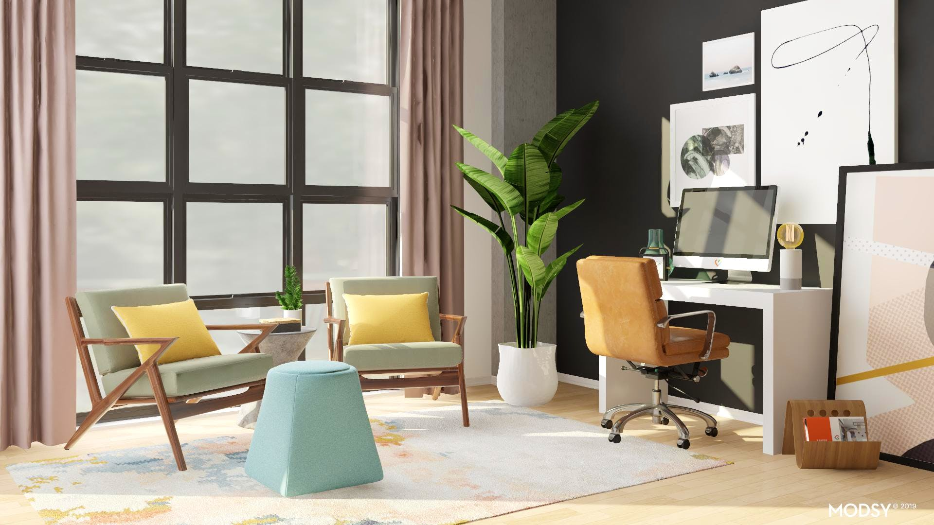Pastel Modern Office with Accent Seating