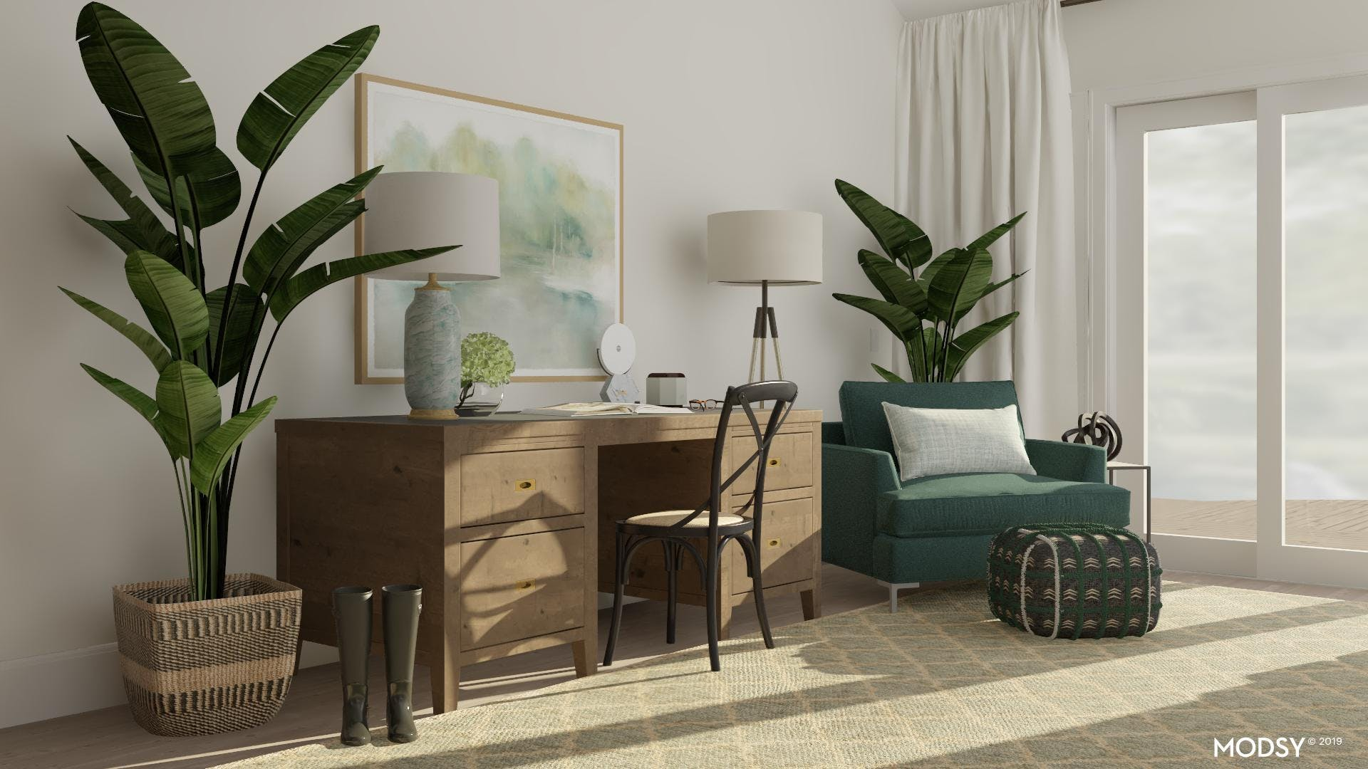 Home office Goes Transition In Green Tones