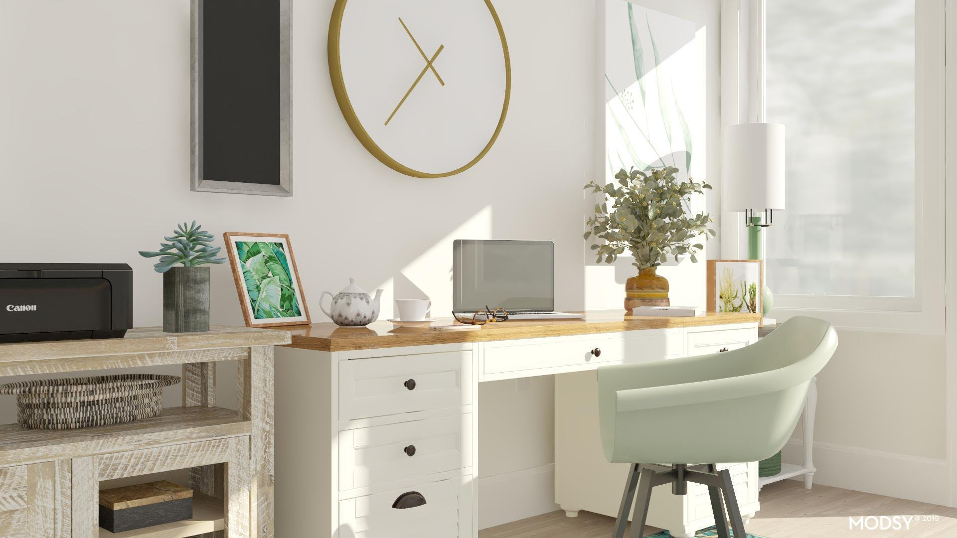 Traditional Green Home Office Setup