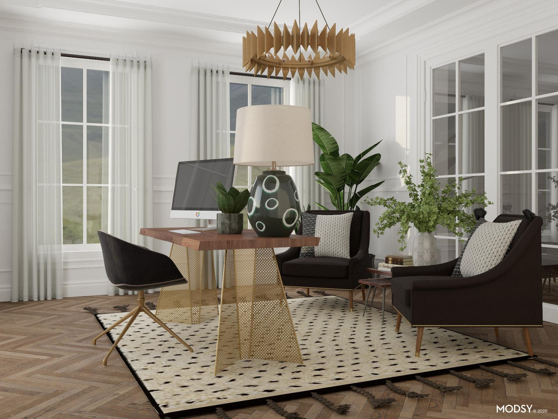 Eclectic Office In Black And White