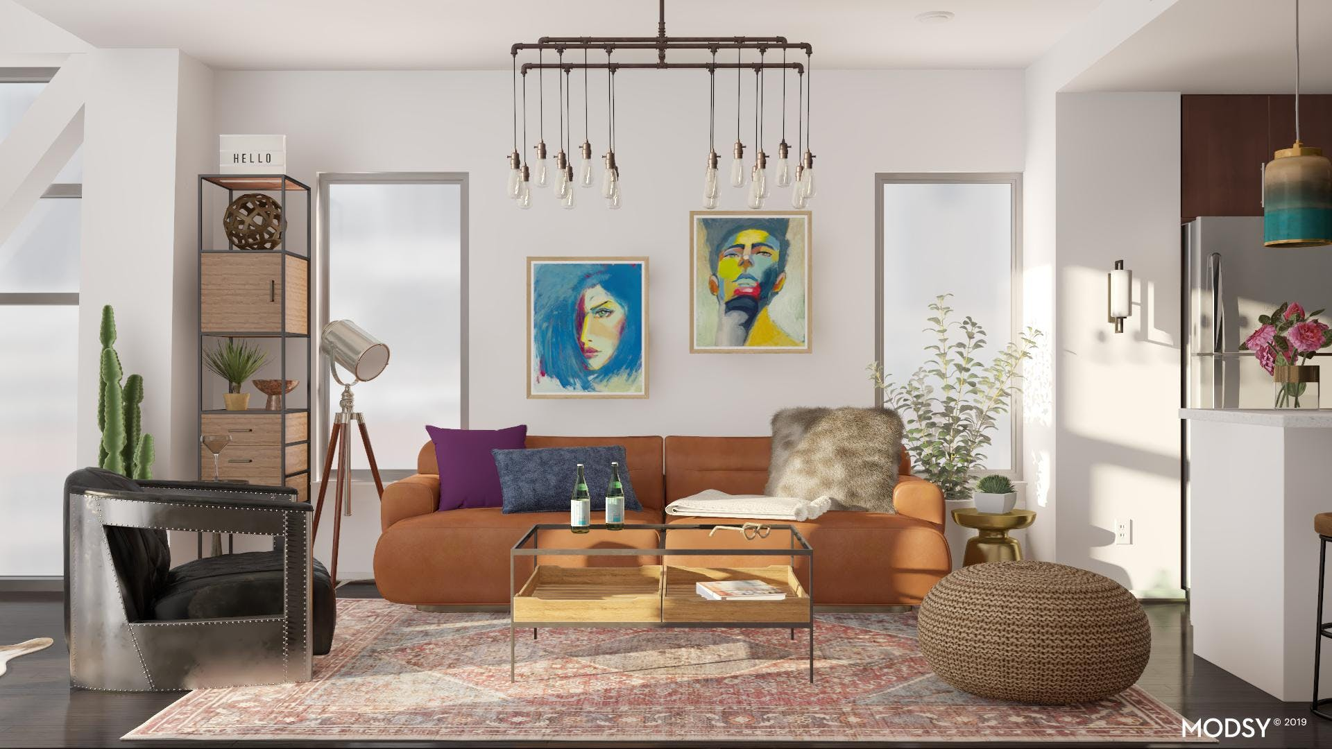 Jewel Toned Living With Industrial Flair