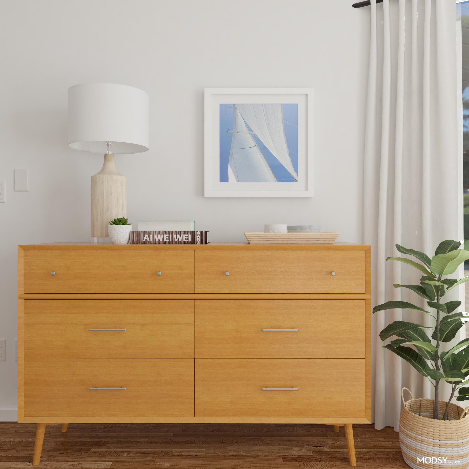Mid Century Modern Dresser In A Blonde Wood Mid Century Style Bedroom Design Ideas