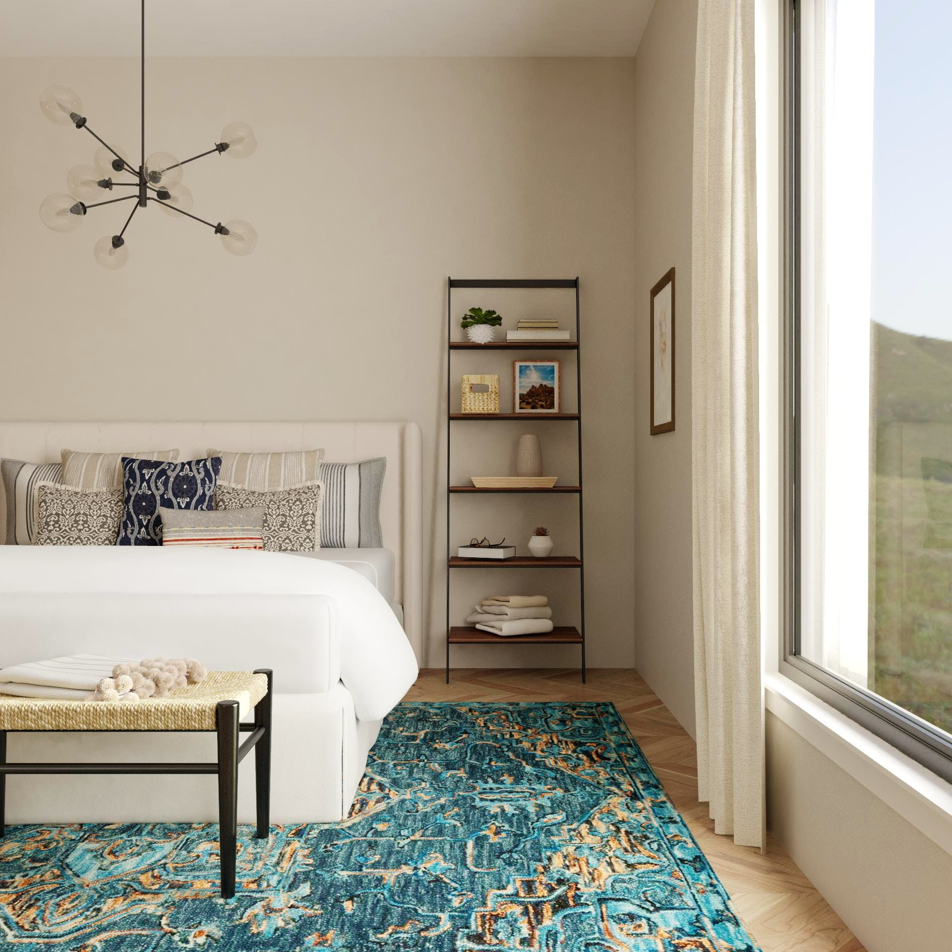 Transitional Bedroom with Lovely Turquoise Rug