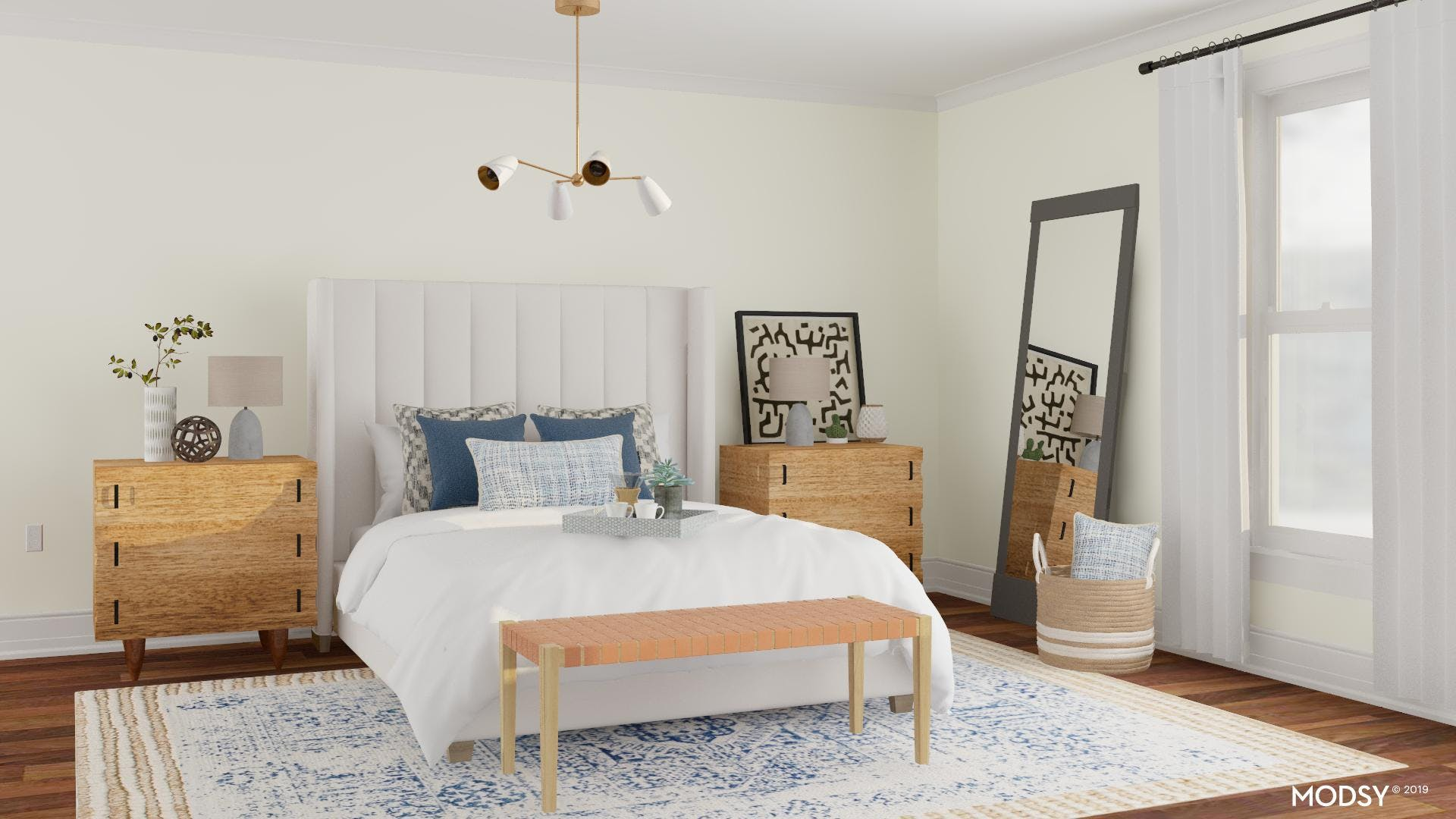 Transitional Bedroom with Coastal Flair