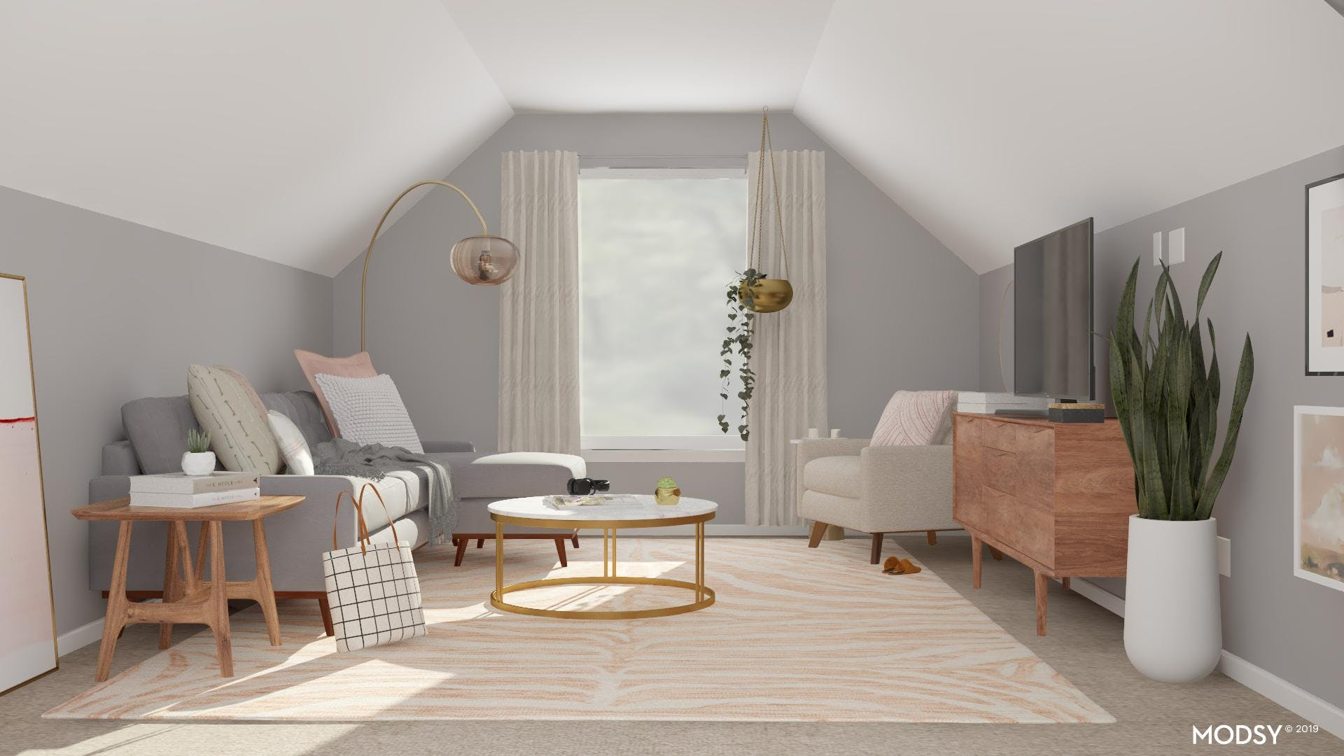 A Pastel Living Room Perfect For Movie Nights