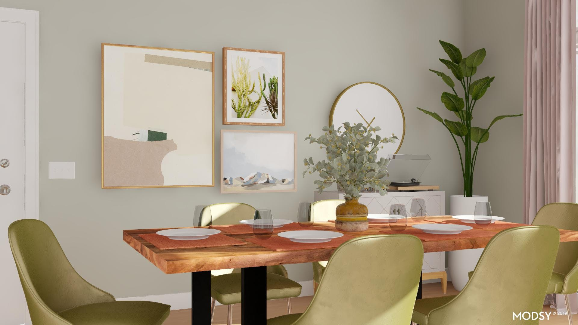 Shades Of Green In A Modern Dining Room