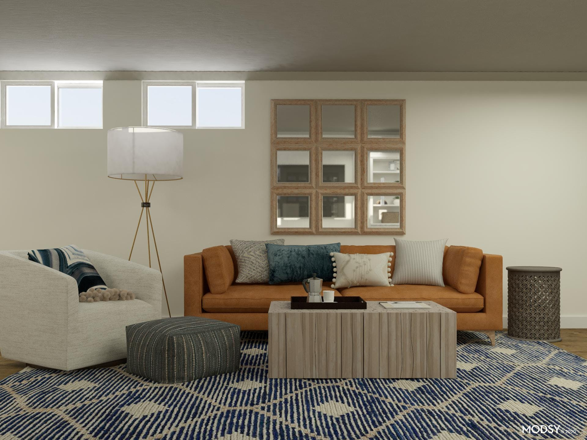 Basement Living Room in Casual Transitional Style