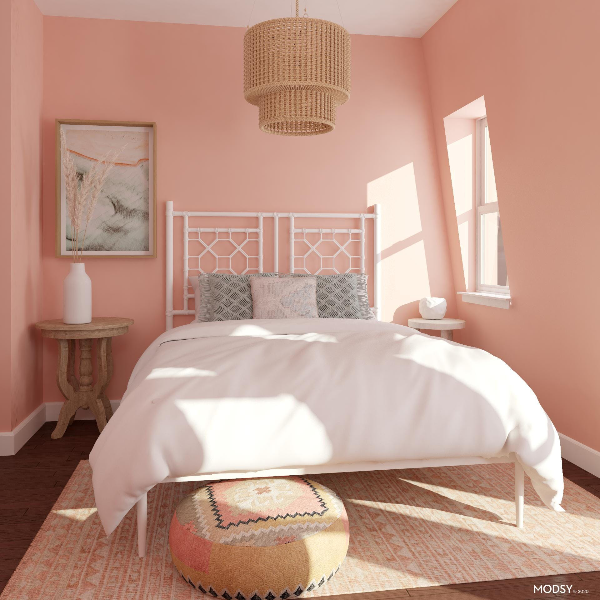 Eclectic Pink Bedroom with an Organic Flare