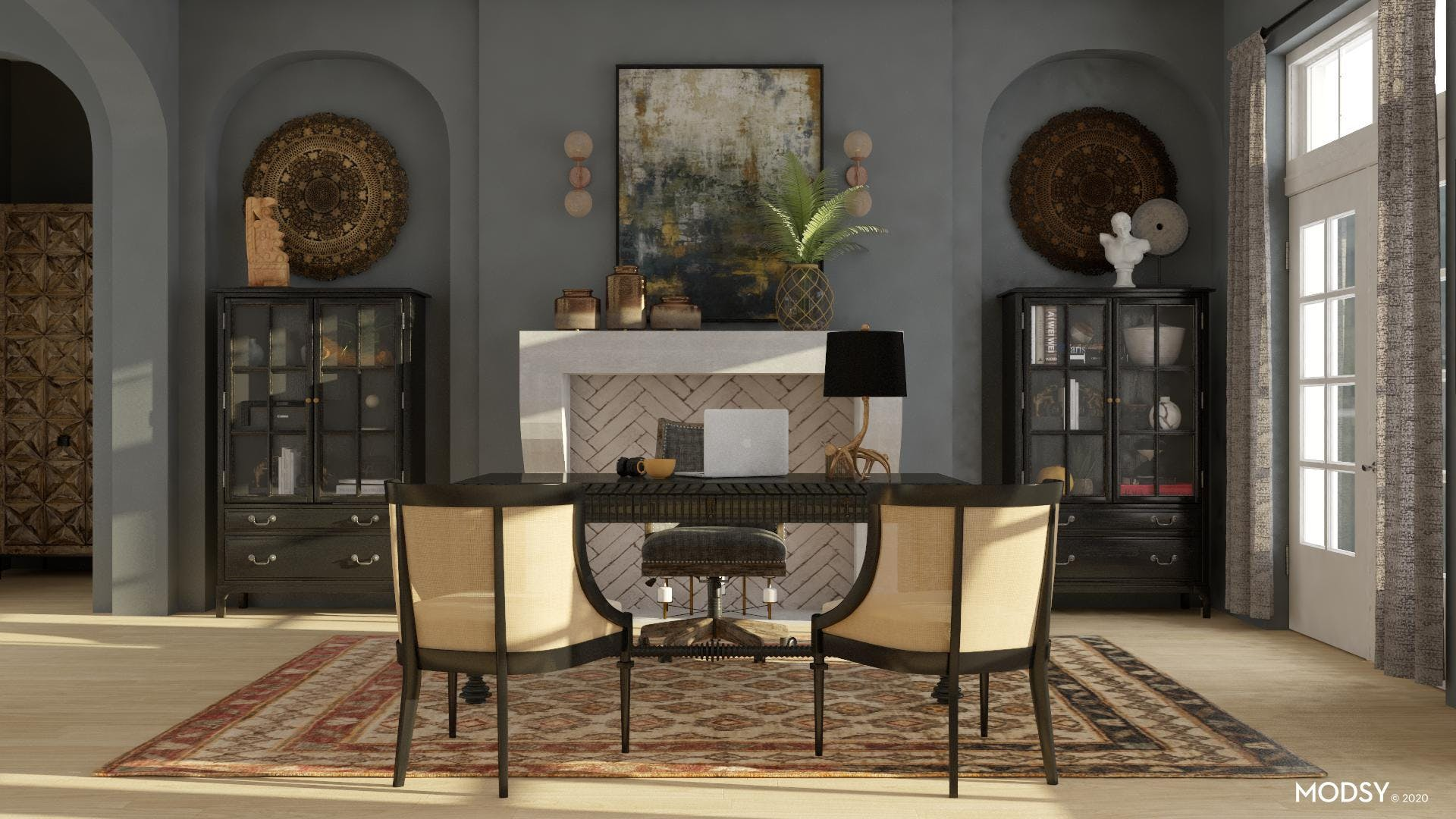 Grand Office: Rustic Flair