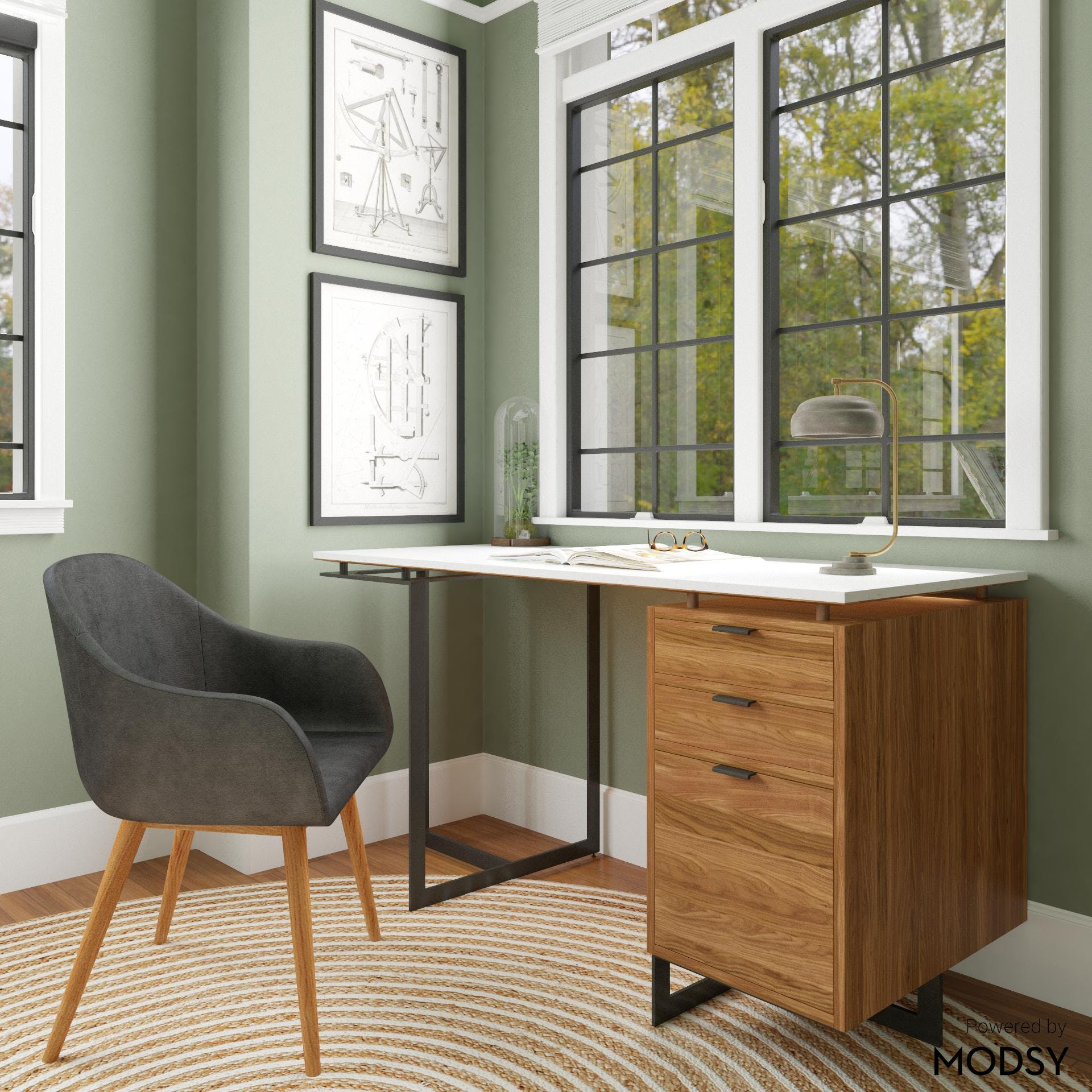Mid-Century Modern Office With A View