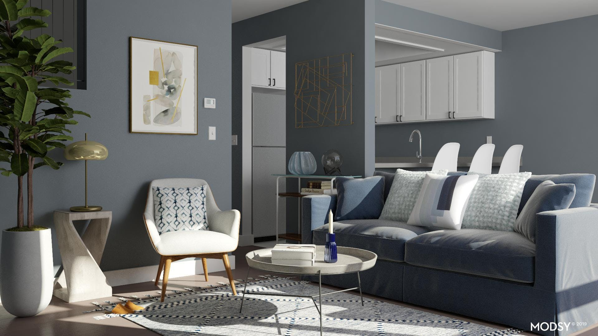 Contemporary Living Room Dress In Blues