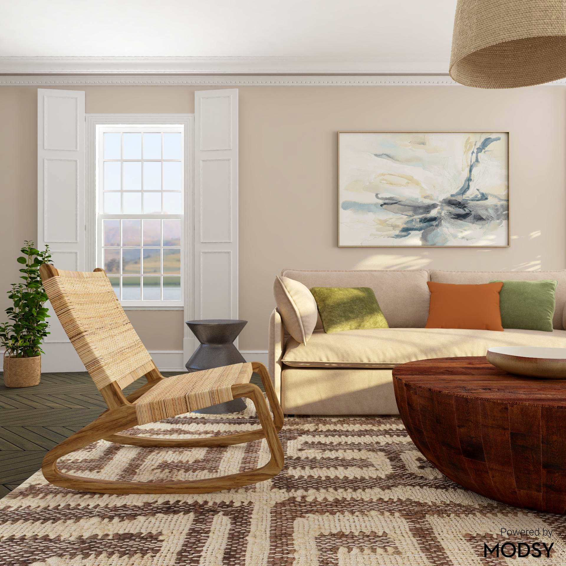 Woven Textures Abound in Contemporary Living Room Space