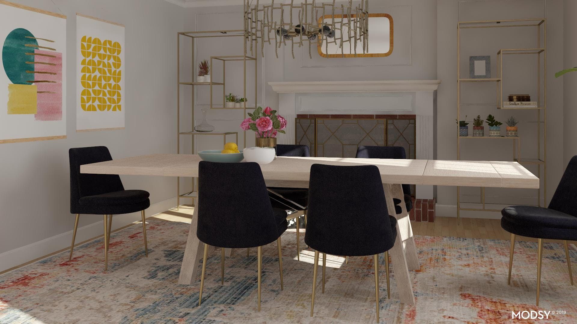 Bright Accents: Modern Dining Room