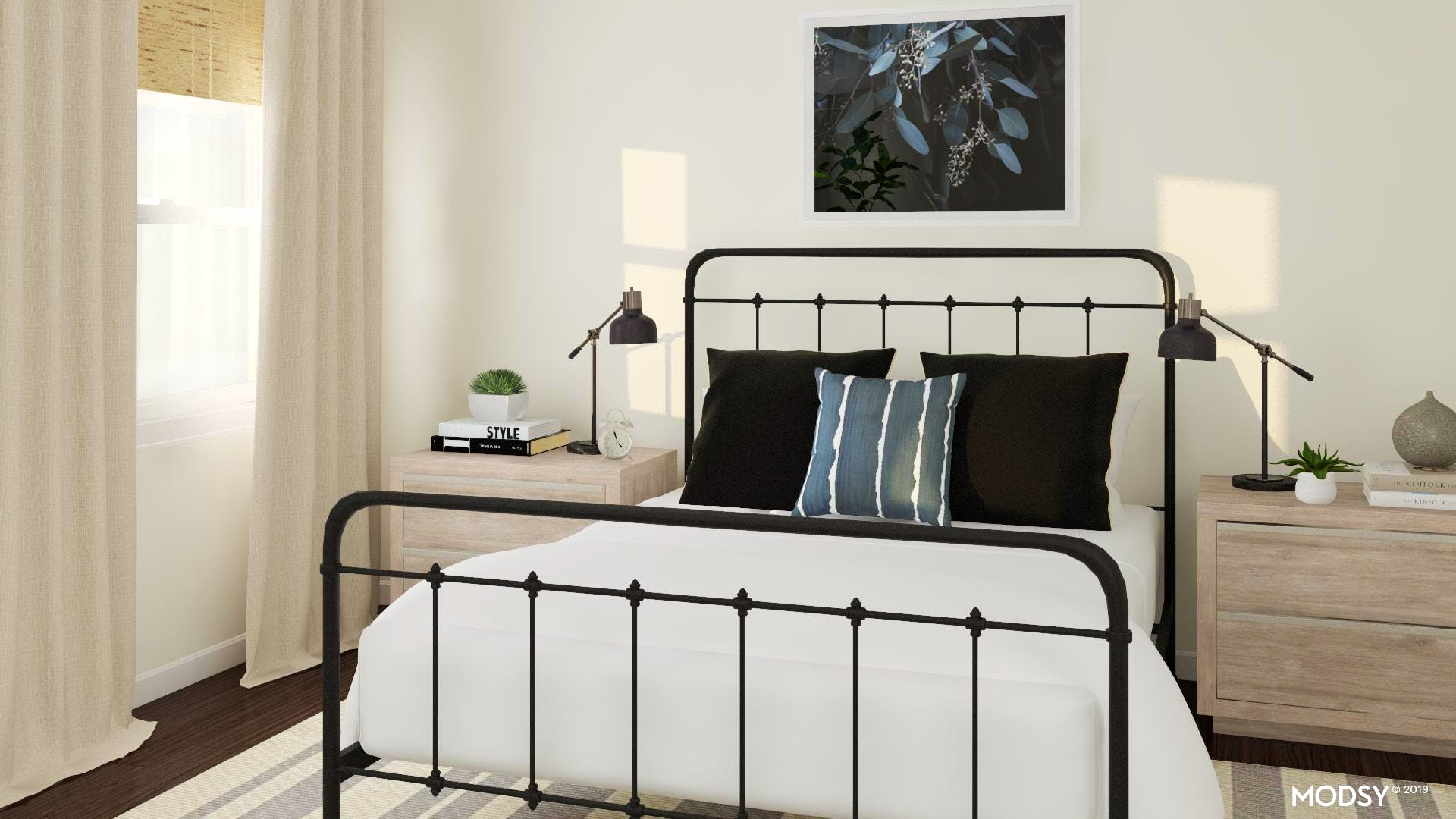 Modern Rustic Bedroom With Black Accents | Modern-Style ...