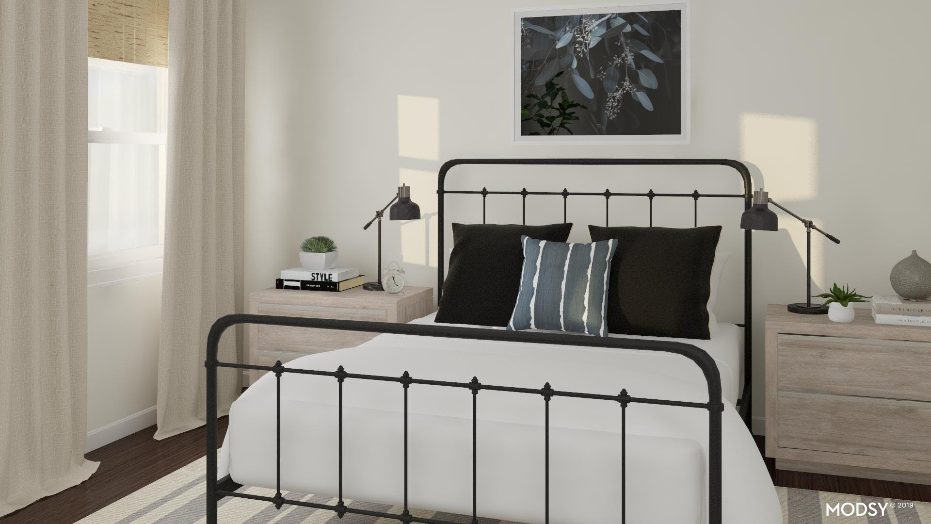 Modern Rustic Bedroom With Black Accents