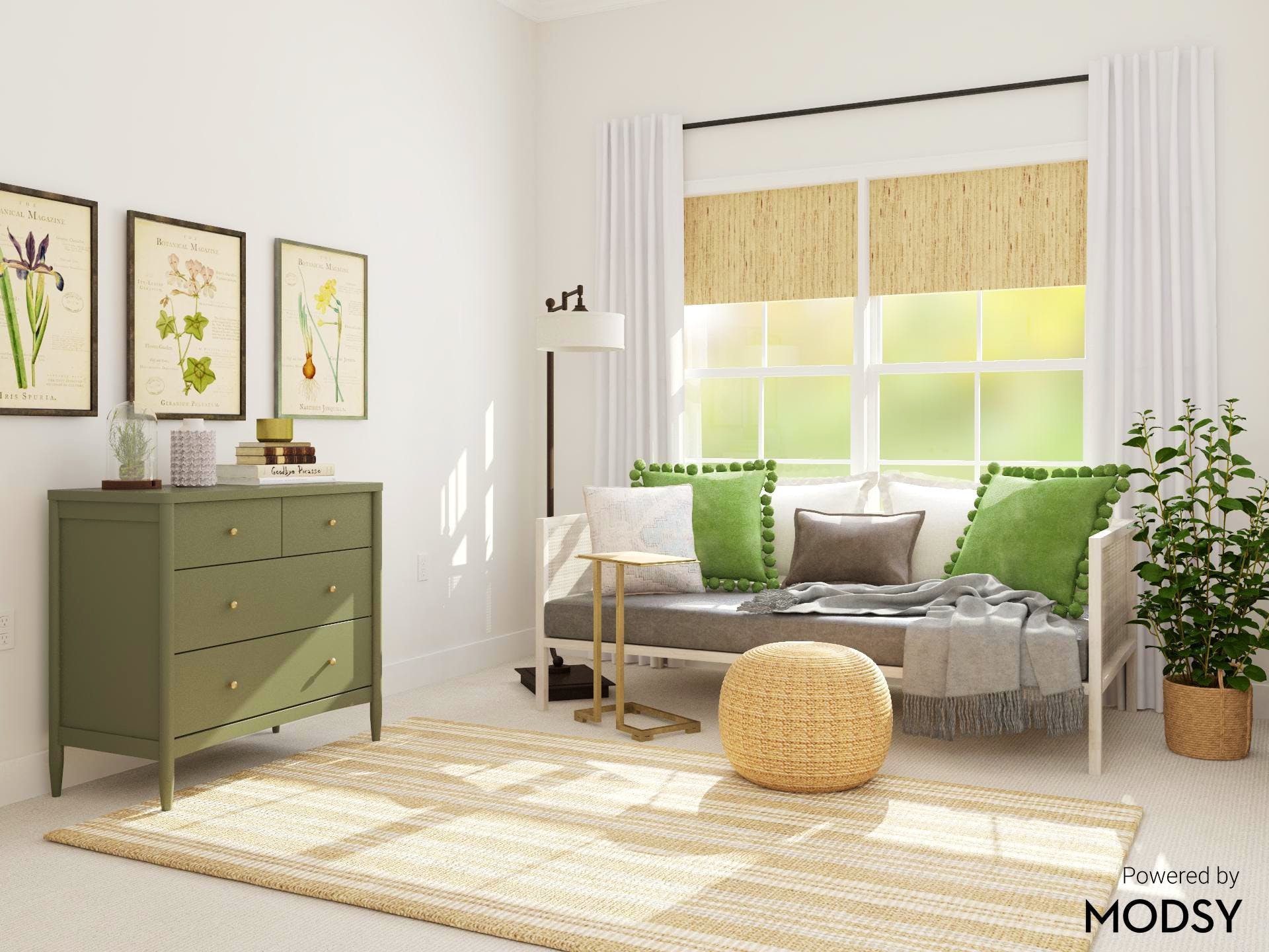 Rustic and Transitional Bedroom in Greens and Neutrals