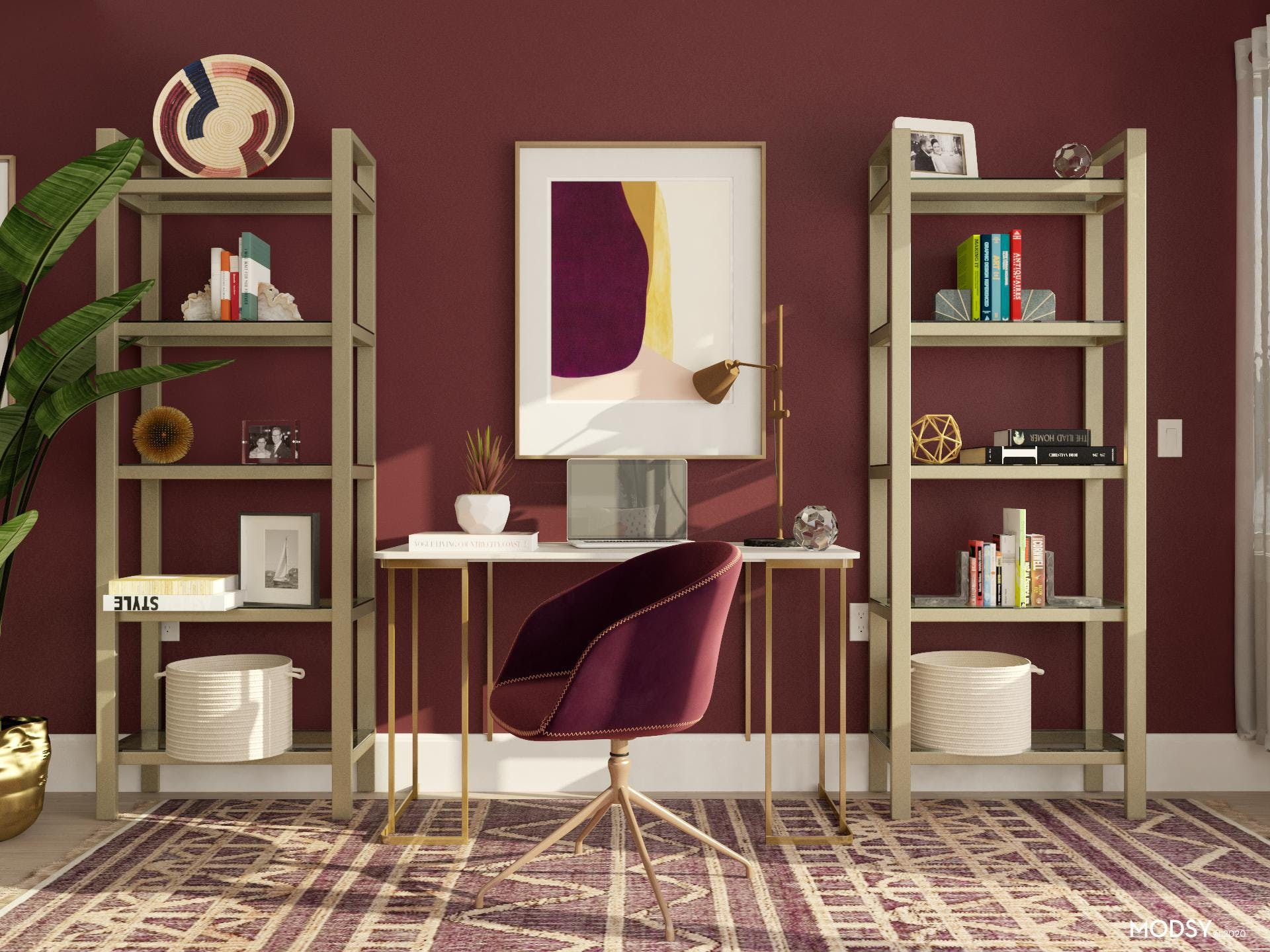 Functional Jewel-tone Home Office