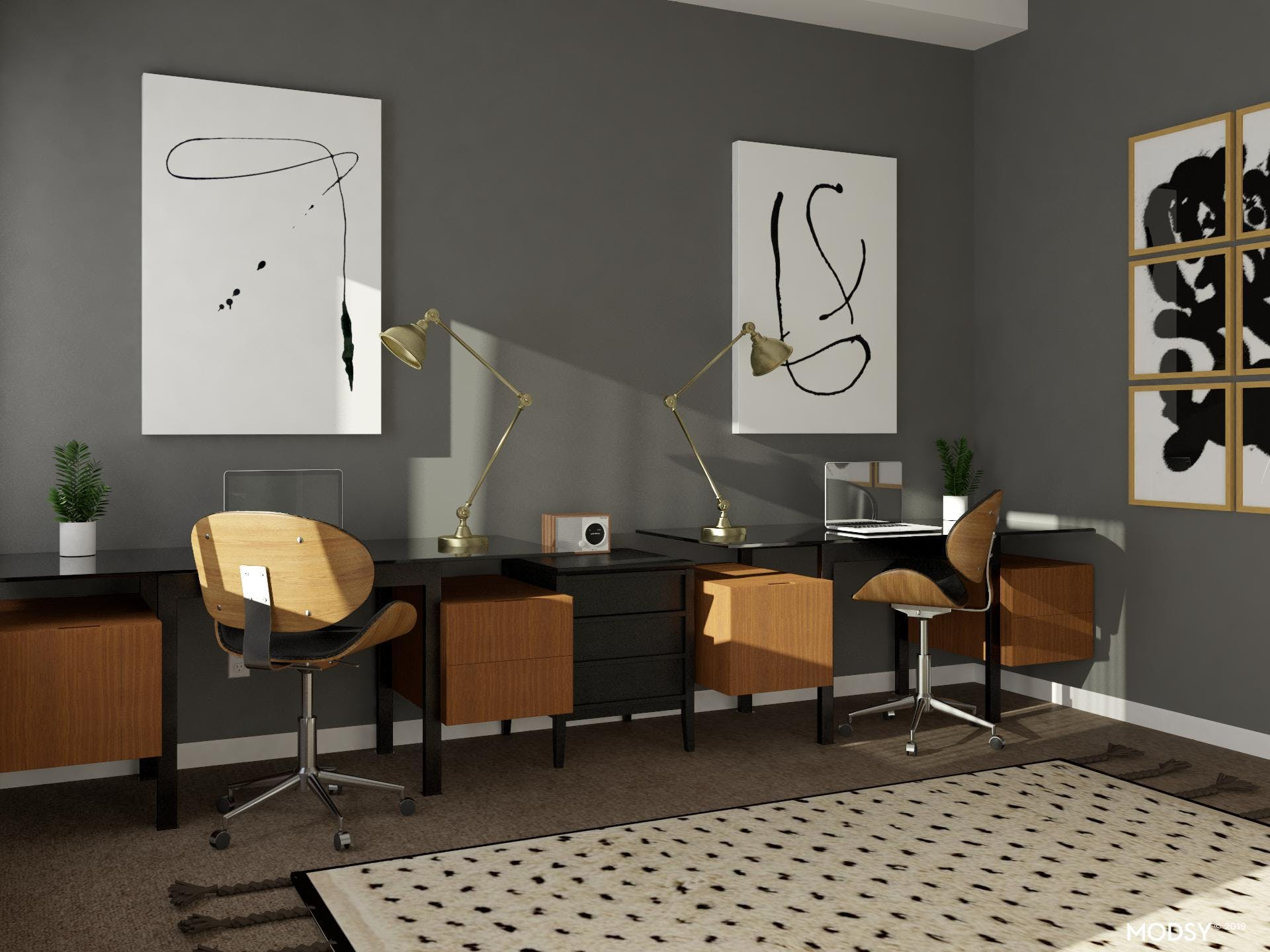 Black and White Shared Home Office