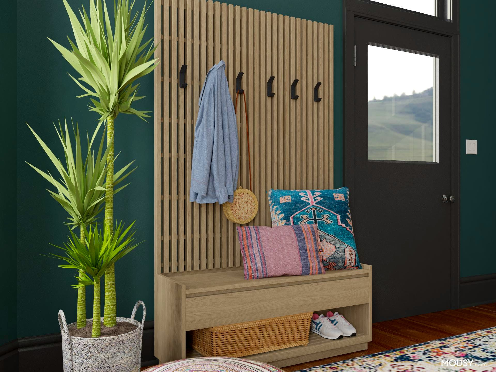 Functional Eclectic Entryway Storage