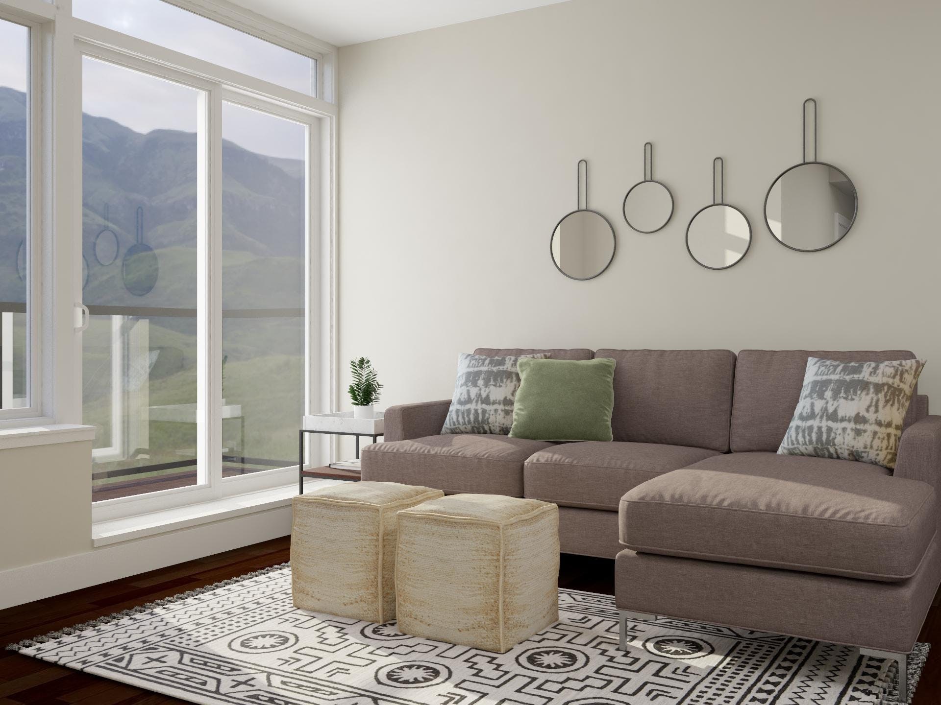 Minimalist Living Room With Dazzling Circular Mirror Accent Wall