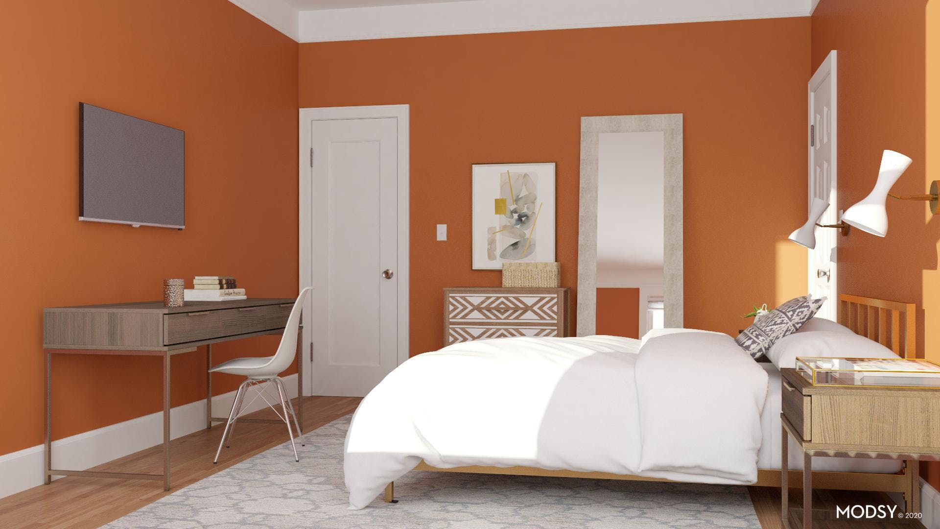 Deep Orange Contemporary Bedroom and Office