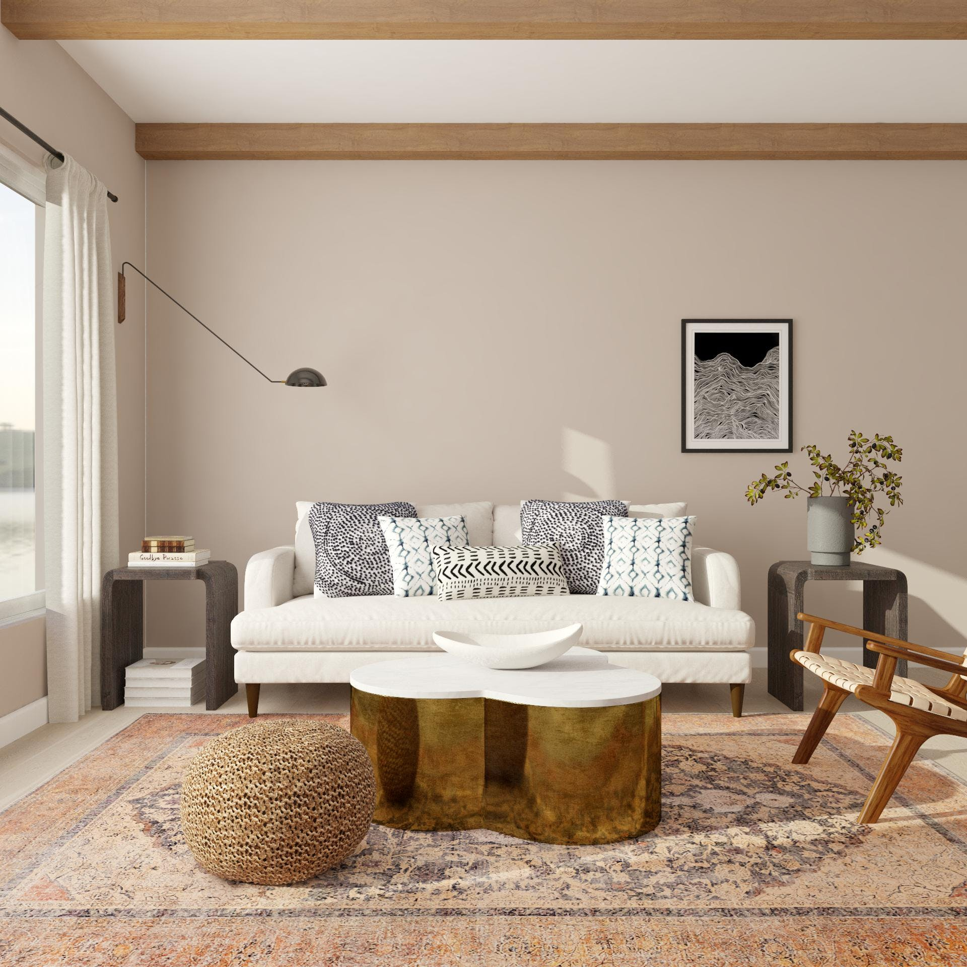 Beautiful Living Room with Bold Contemporary Transitional Styling