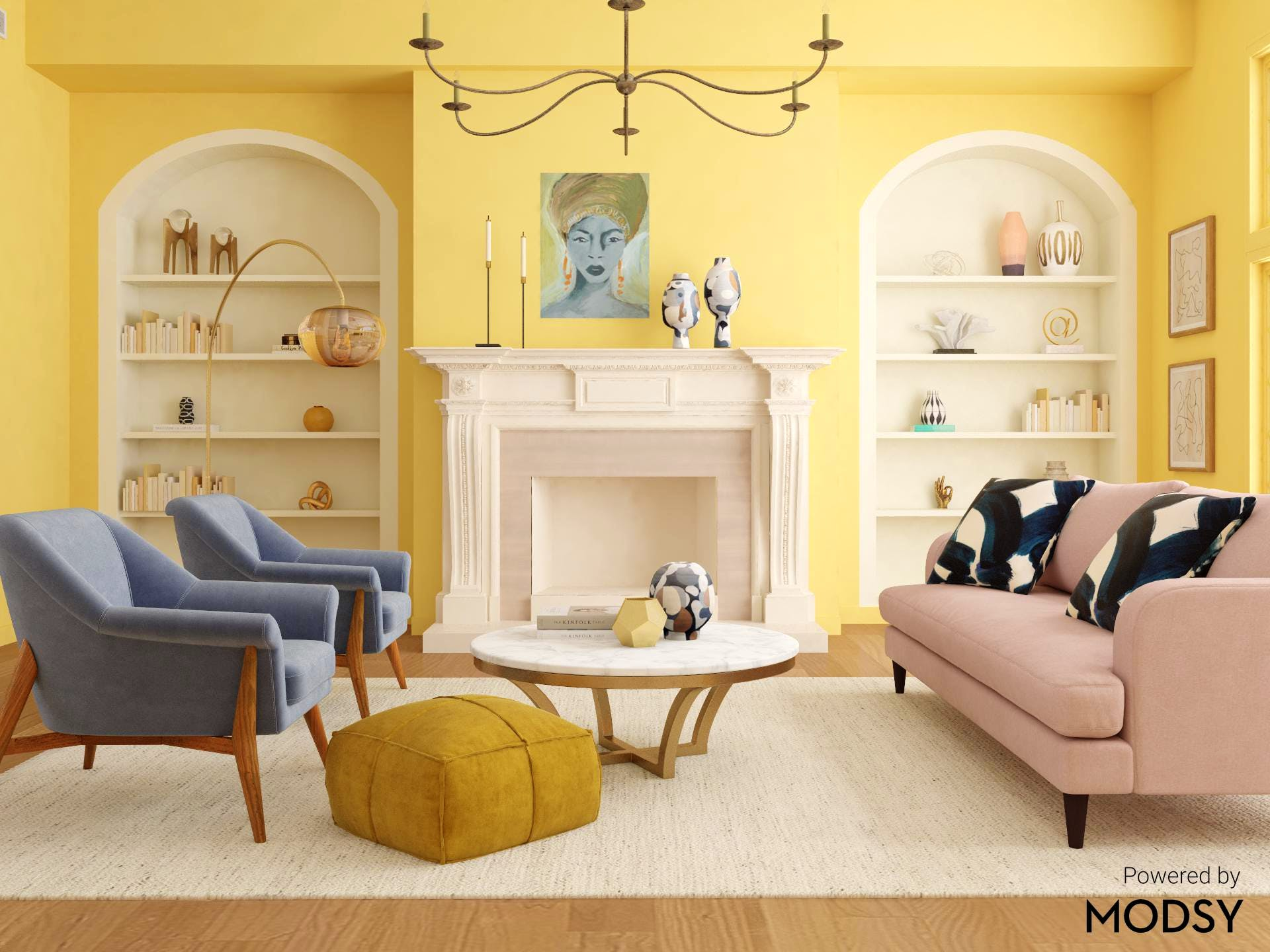 Pastels Colors in a Refined Mid-Century-Modern Living Room