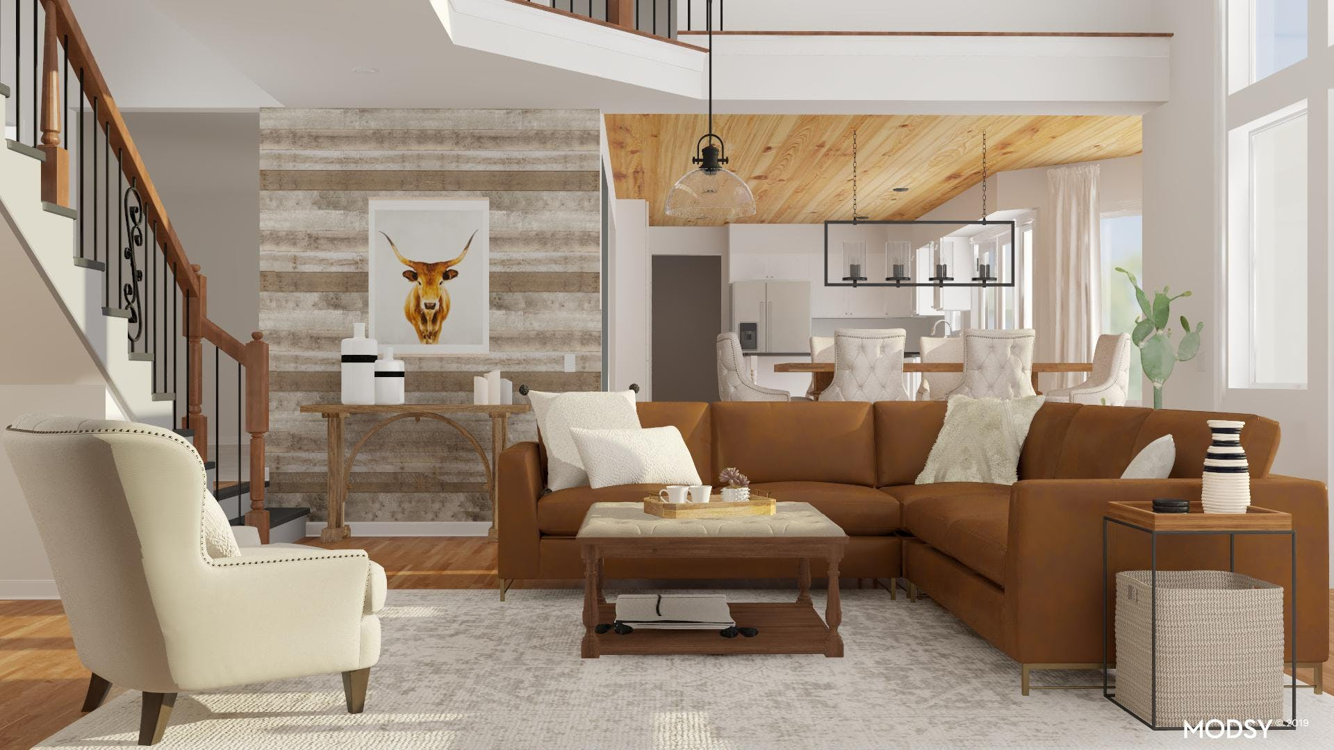 Rustic Accent Wall In A Neutral Living Room