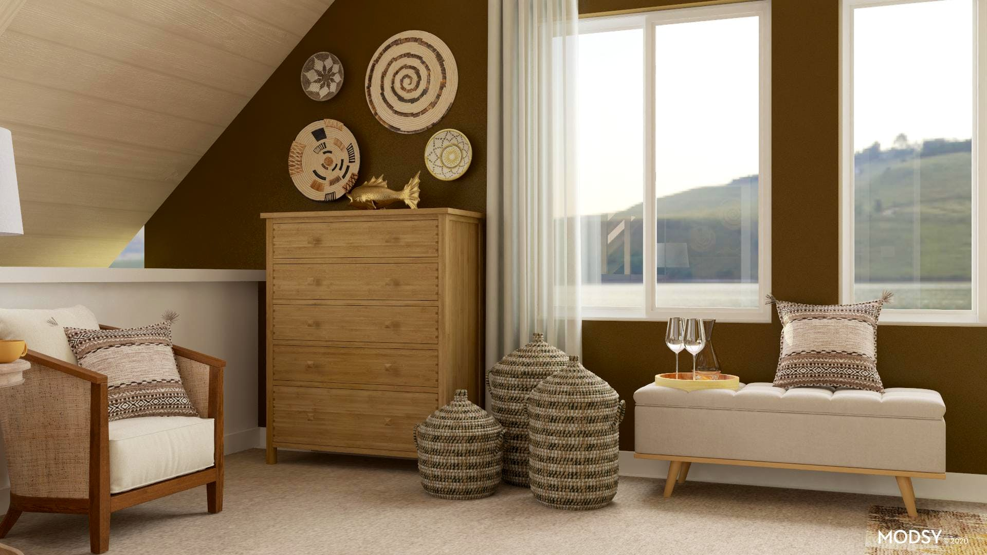 Textures and Extra Seating in Transitional Bedroom