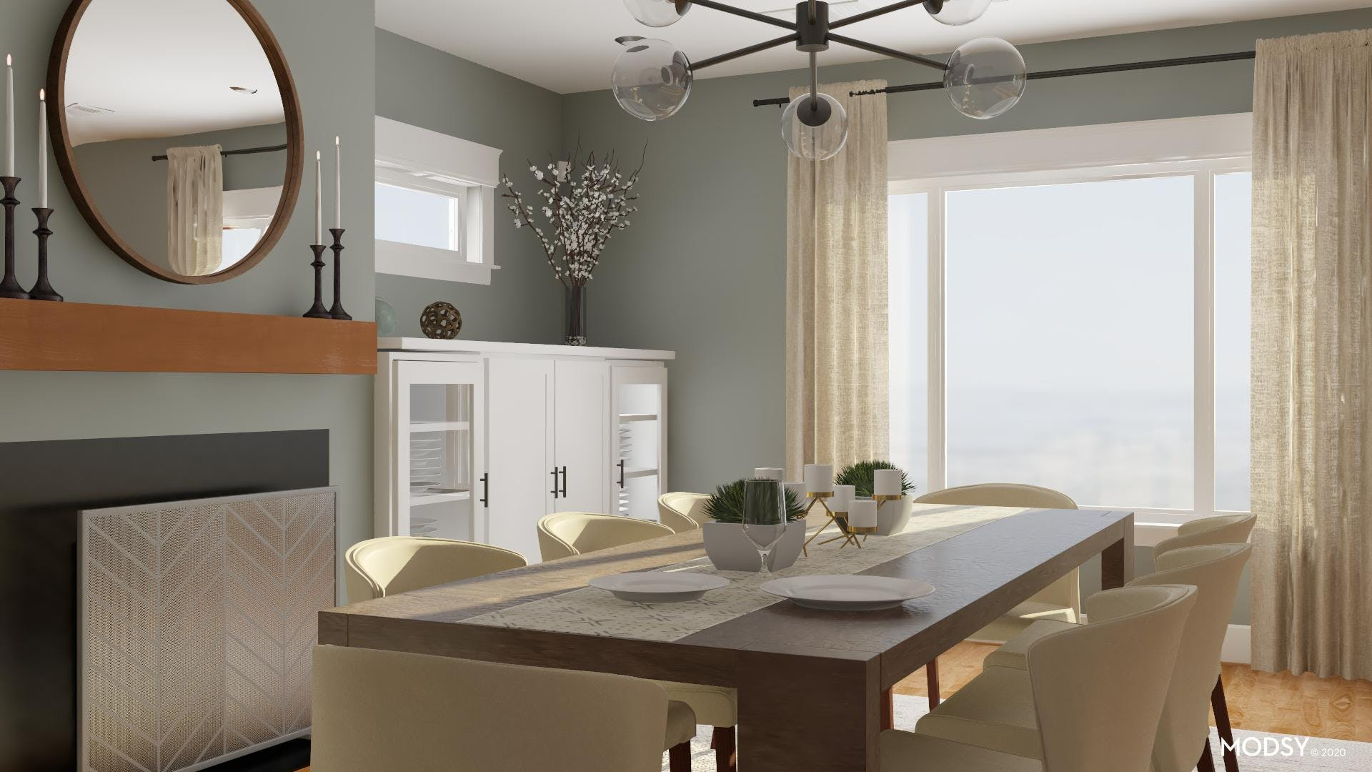 The neutral Contemporary Dining Room