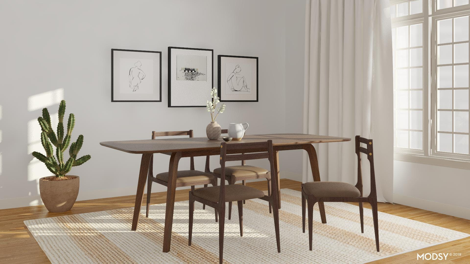Modern, Minimal, and Neutral Dining Room