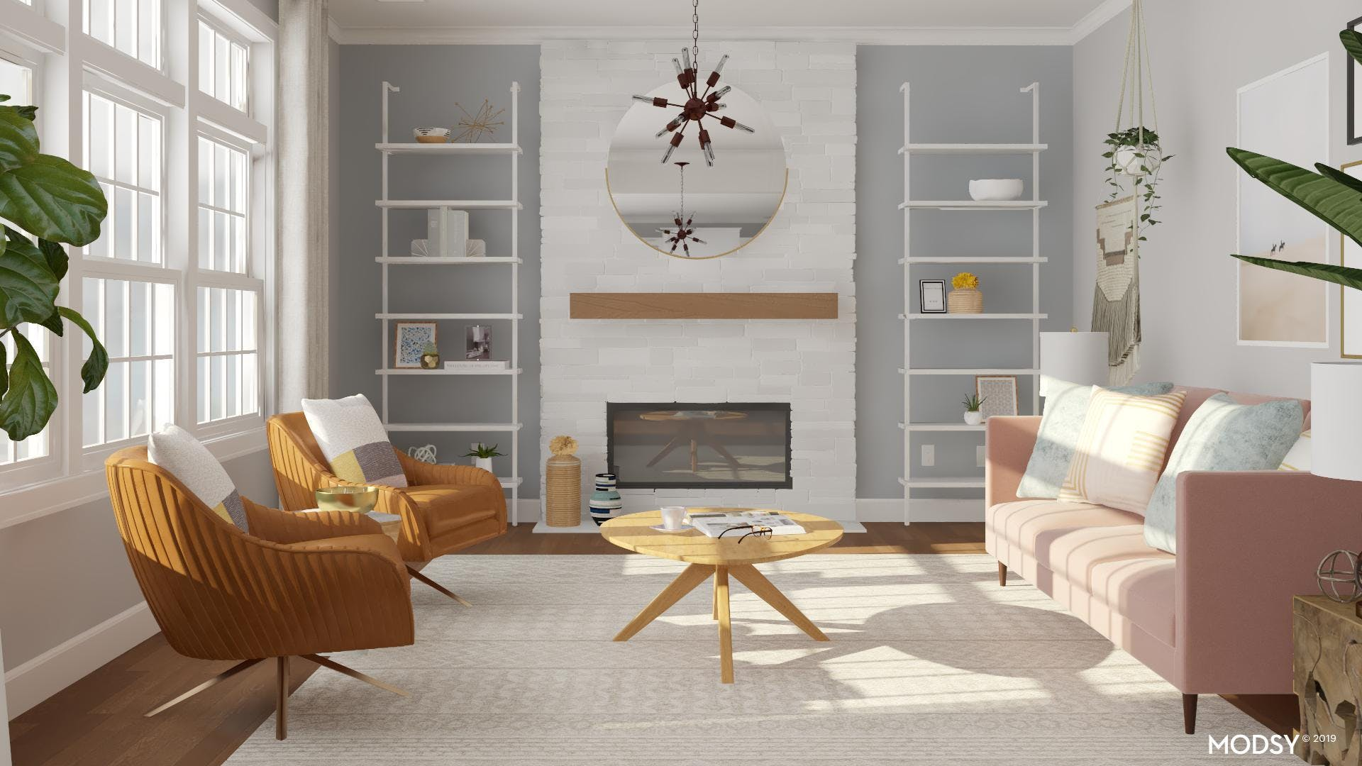 Colorful Pet-Friendly Mid-Century Living Room