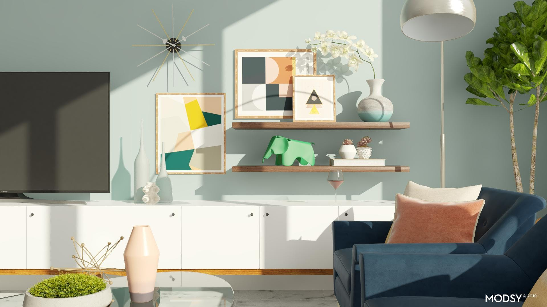 A Playful Mid-Century Living Room