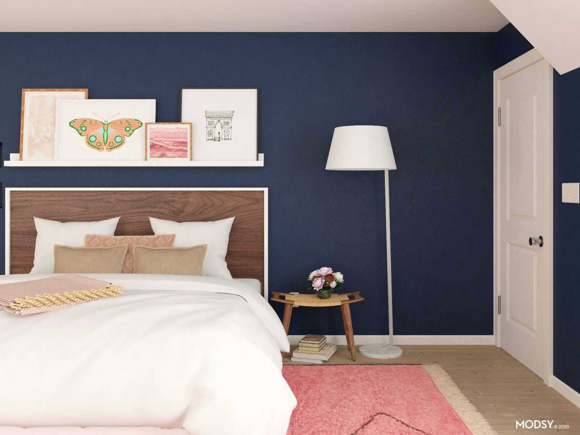 Moody Blue and Pink Bedroom in Transitional Style