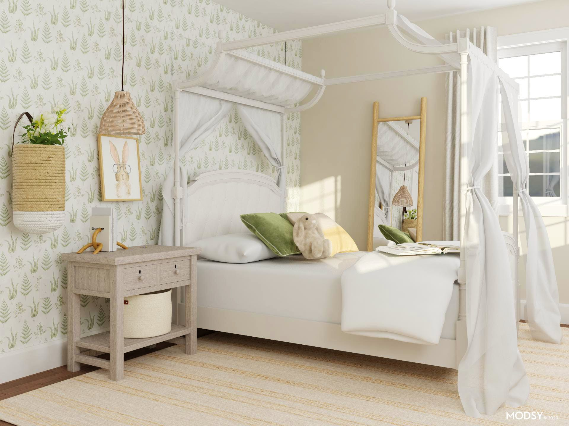 Lovely Transitional Bedroom with a Touch of Green