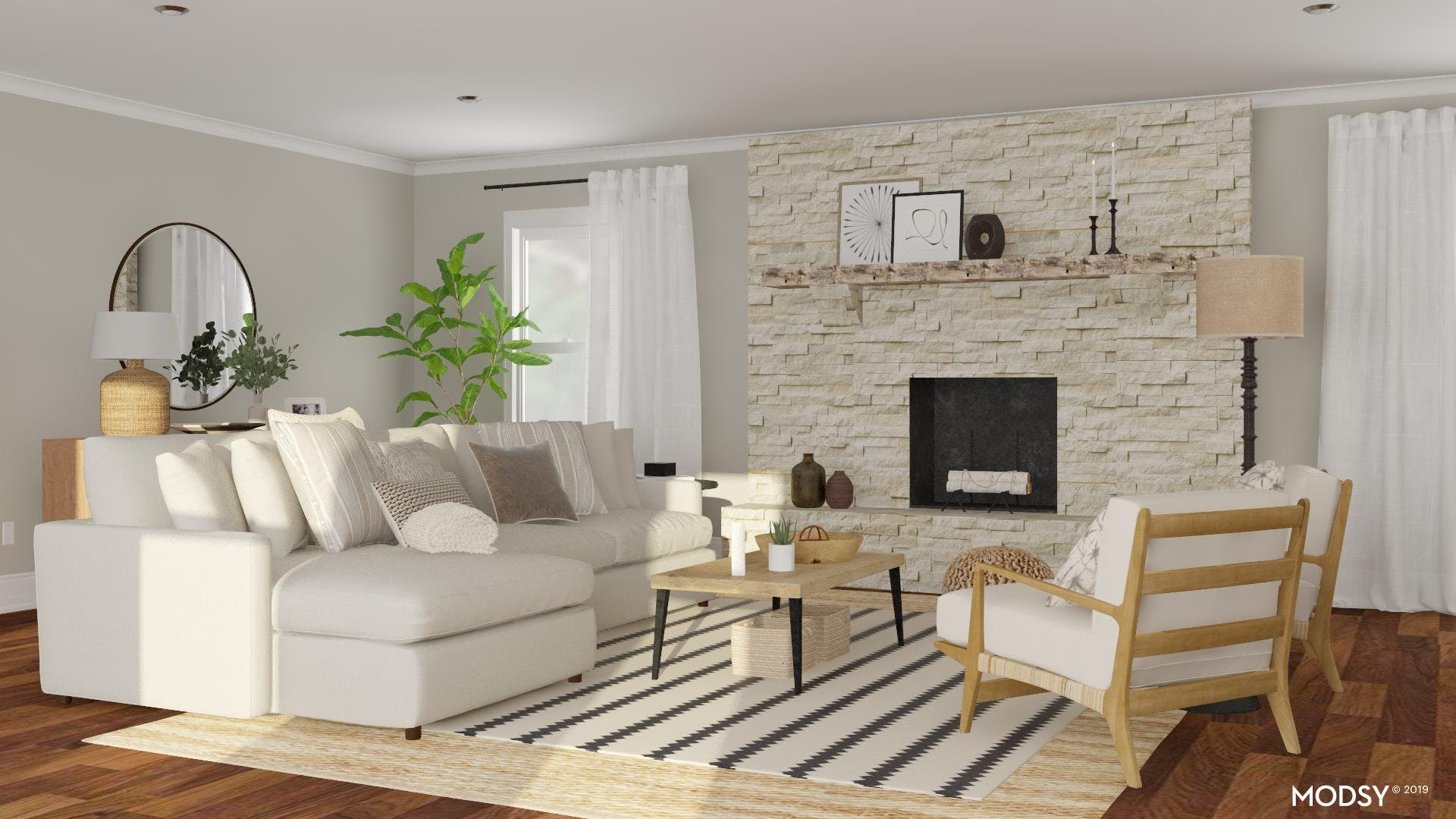 Large Rustic Fireplace Living Room