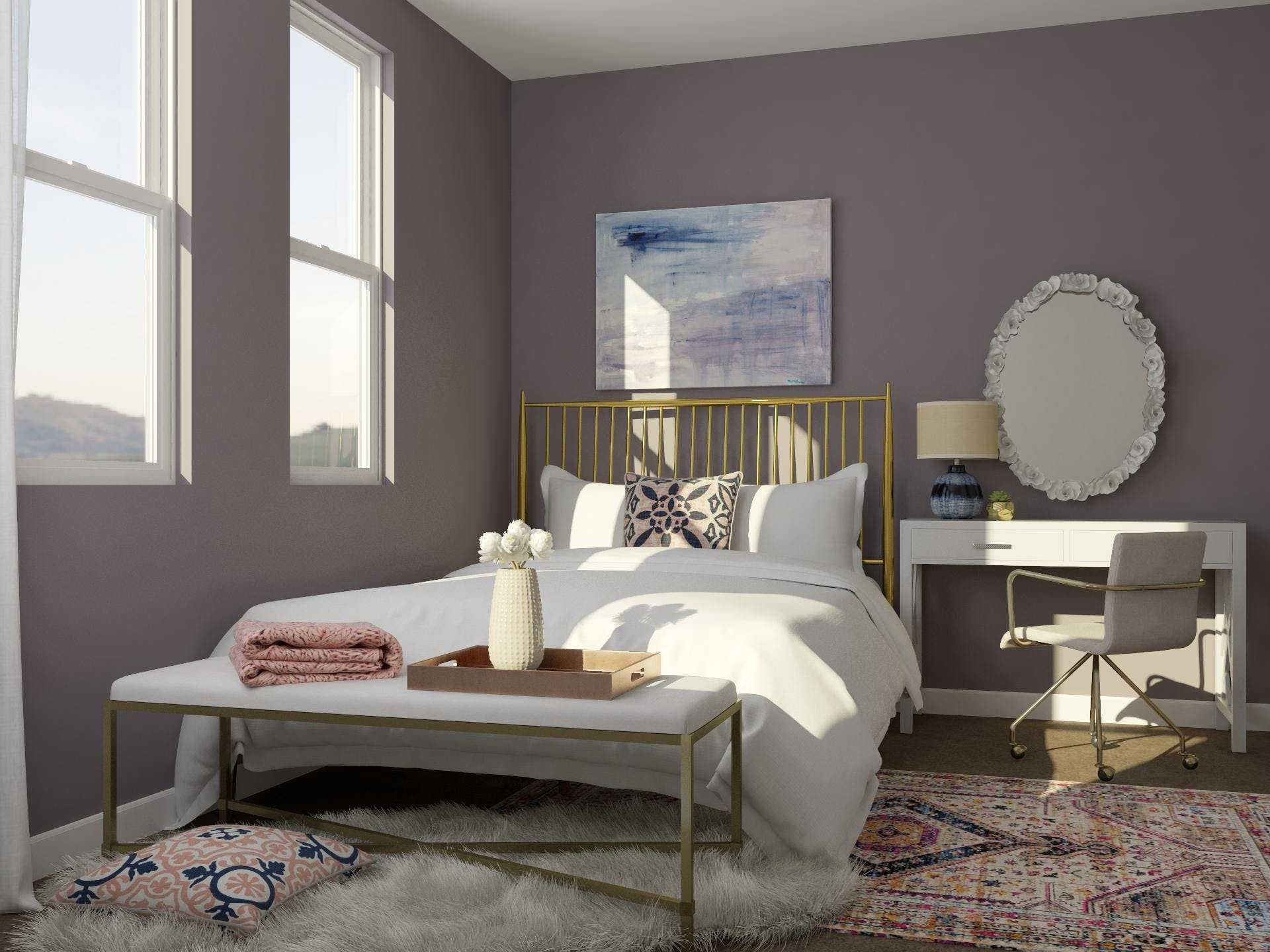 Glam Bedroom in Pale Mauve
