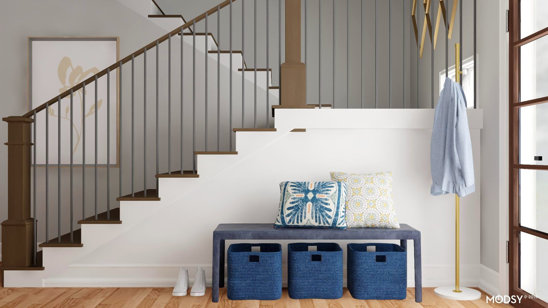 Entryway Bench Seating Eclectic Style Entryway Foyer Design Ideas
