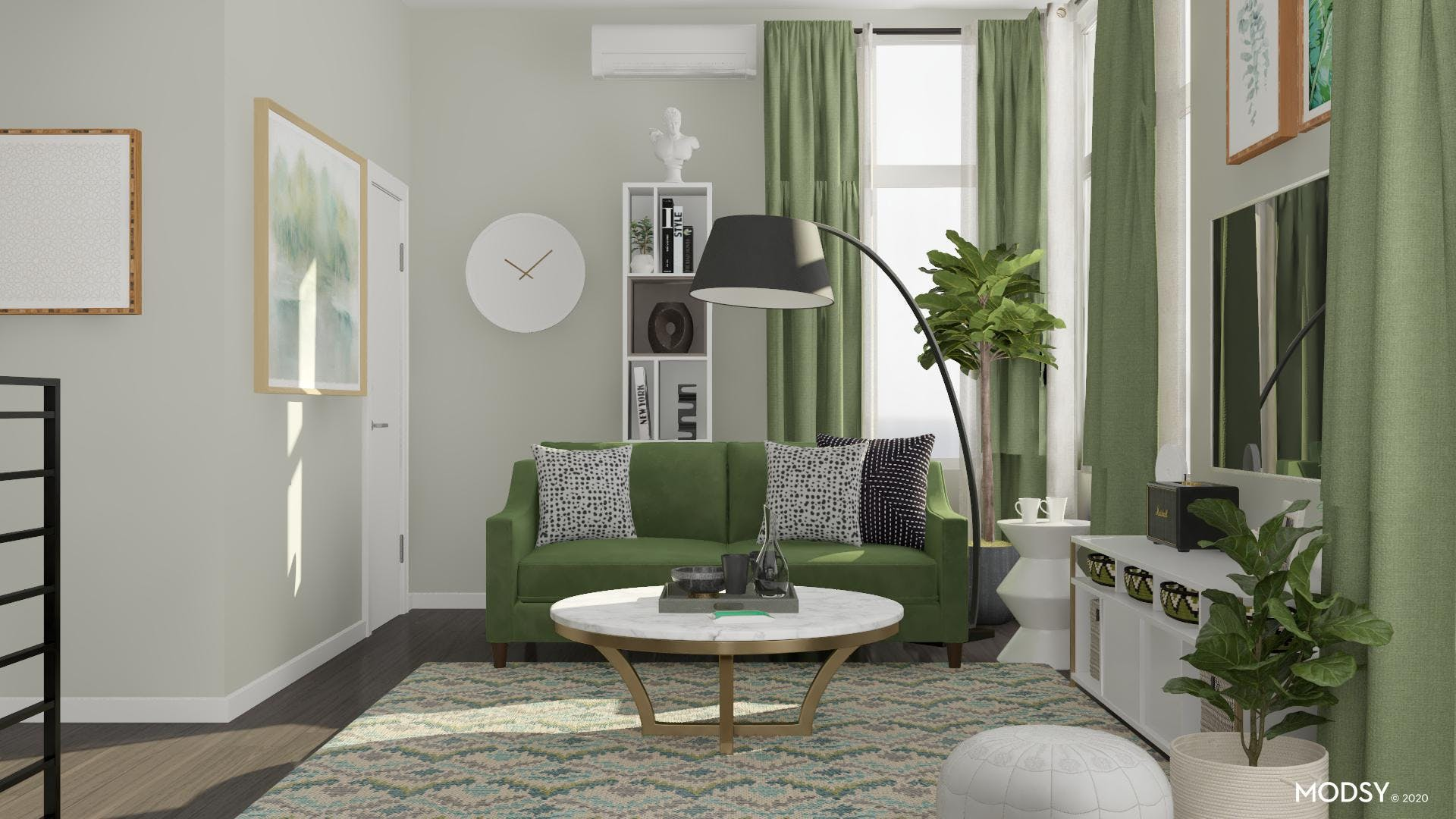 Glamourous and Green Mid-Century Living Room