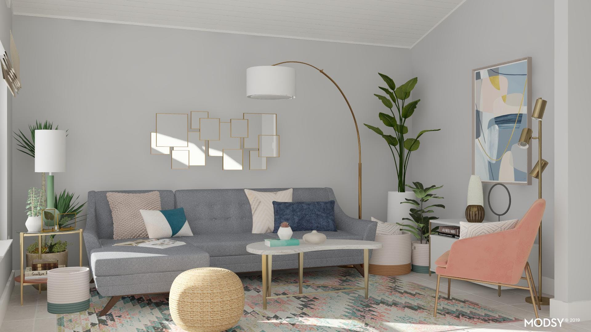 Pastel Modern Living Room With Mid-Century Accents