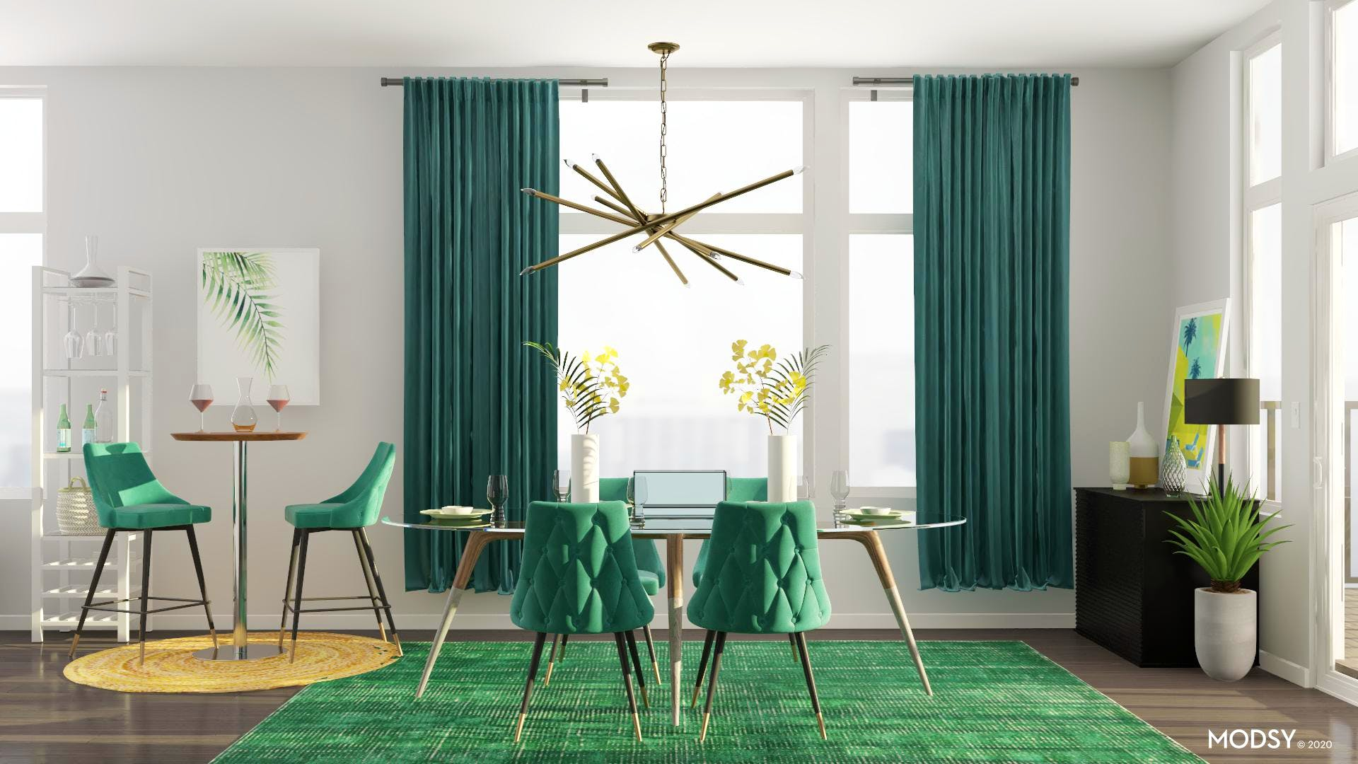 Minimal and Green Dining Room
