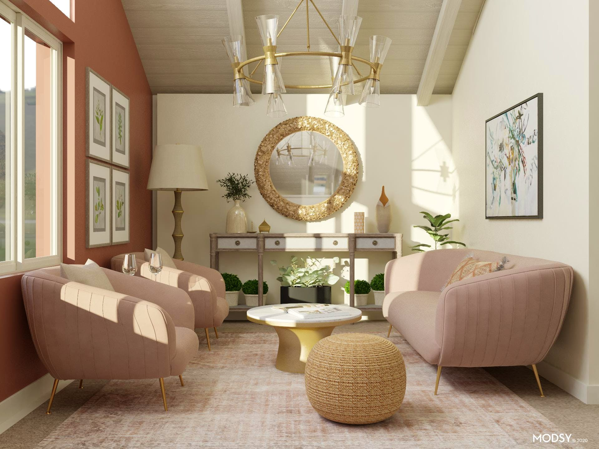 Earthy Glam Living Room Design | Glam-Style Living Room ...