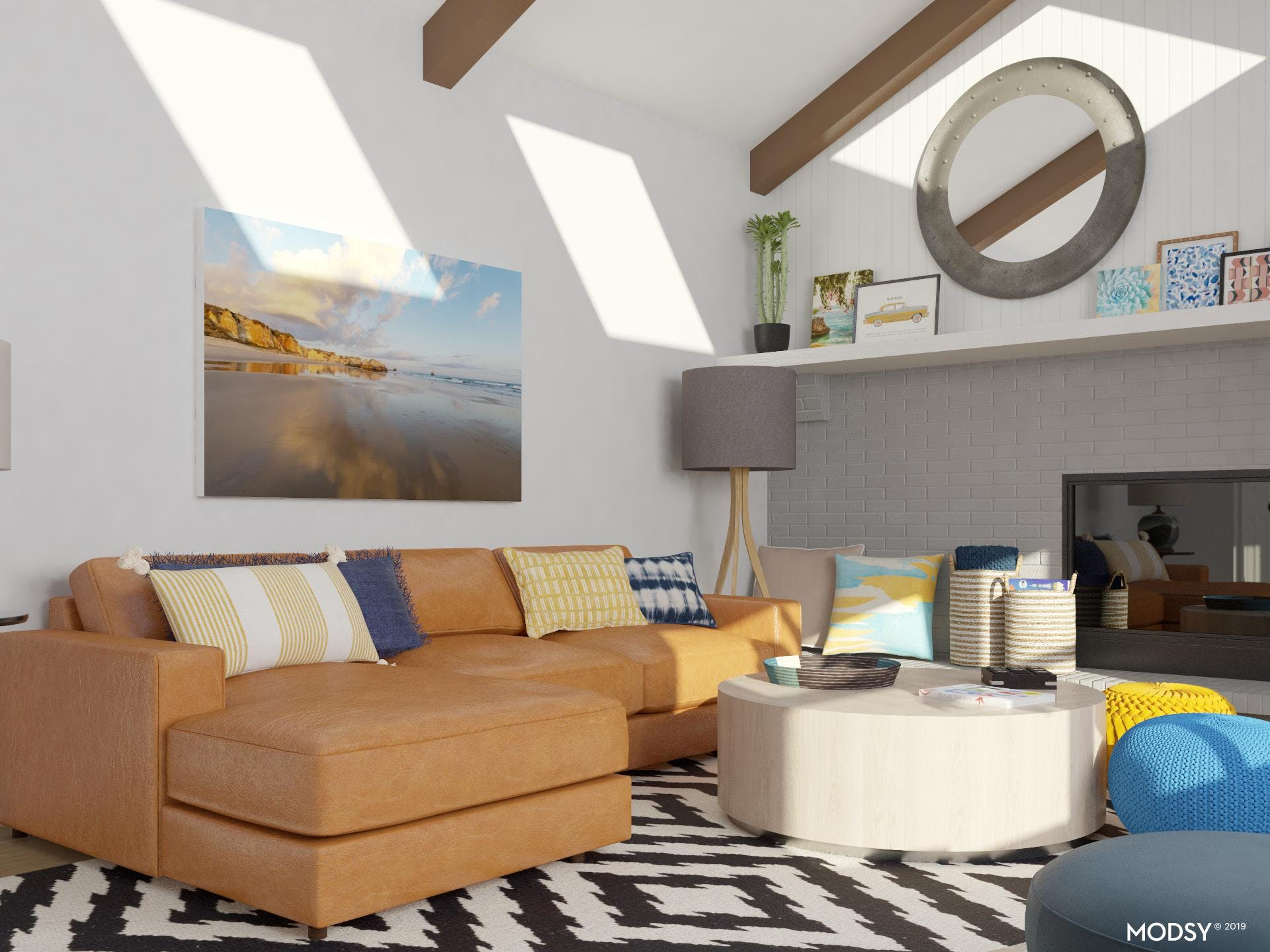 Bright kid-friendly eclectic living room