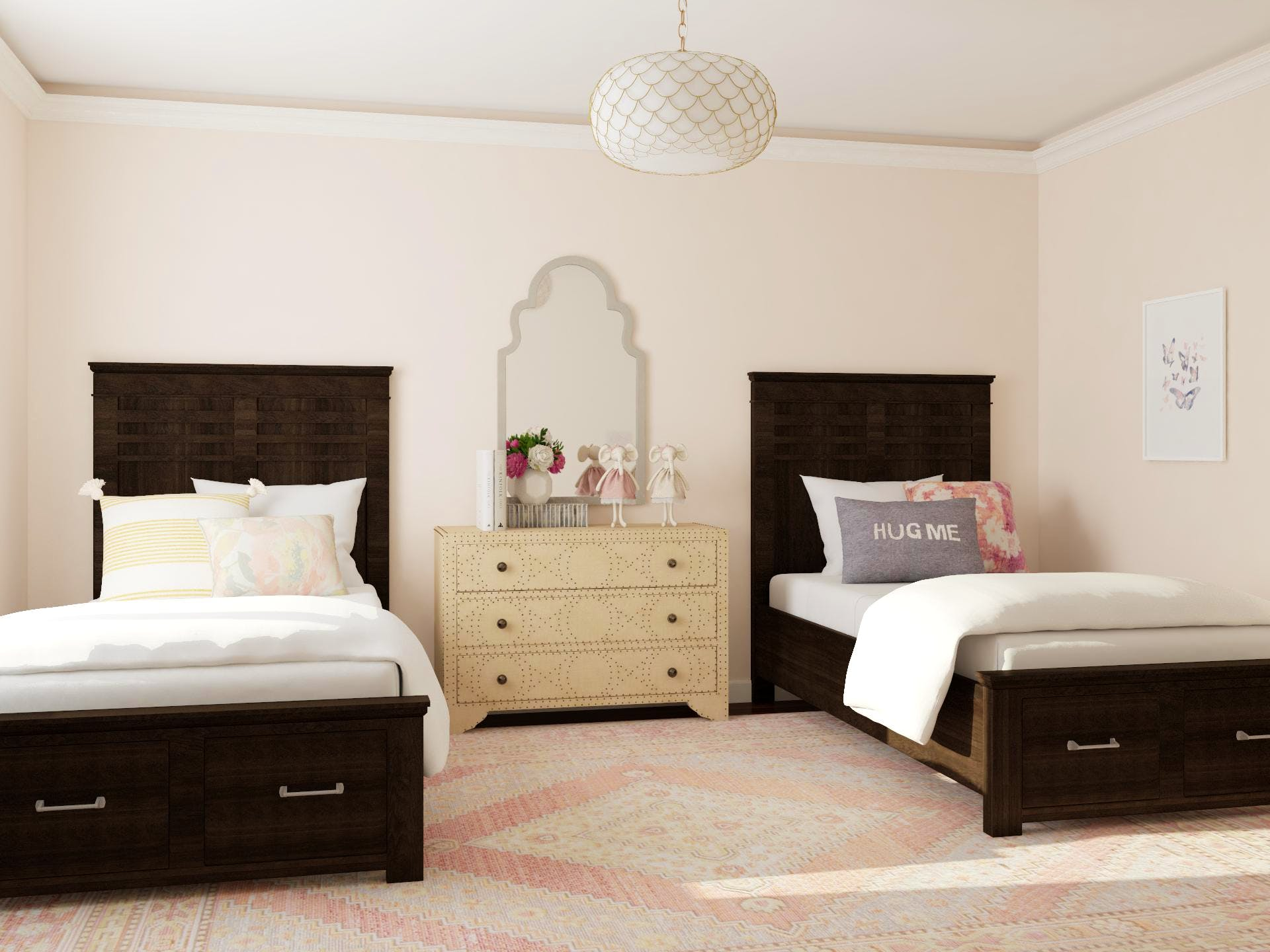 Traditional Kids Shared BedRoom in Restful Neutral Palette