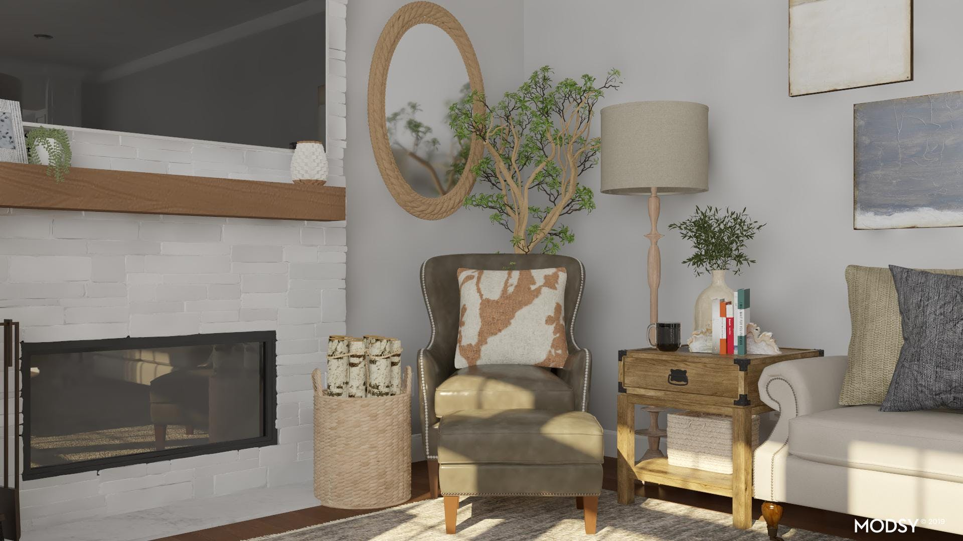 Leather Accent Chair: Rustic Living