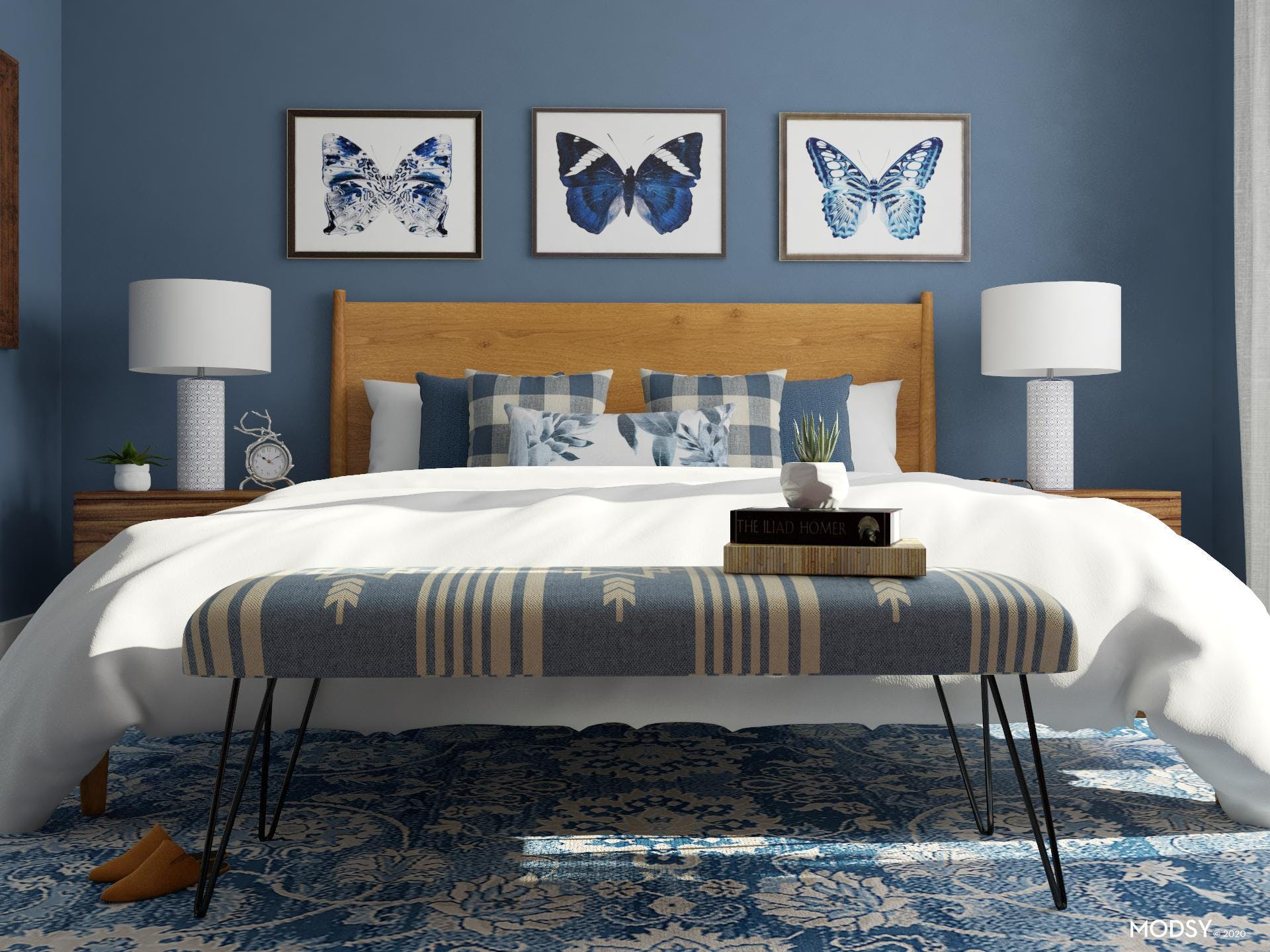 A Welcoming Modern, Blue Bedroom