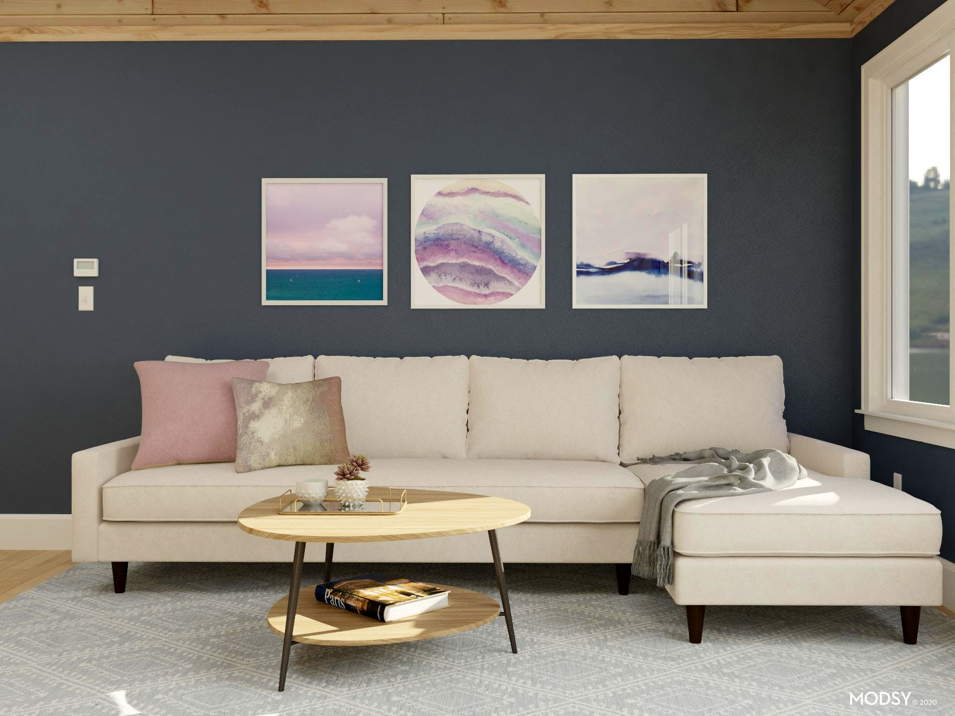 Mid-Centurey-Modren Sectional With Ample Seating in a Restful Blue-Green Space