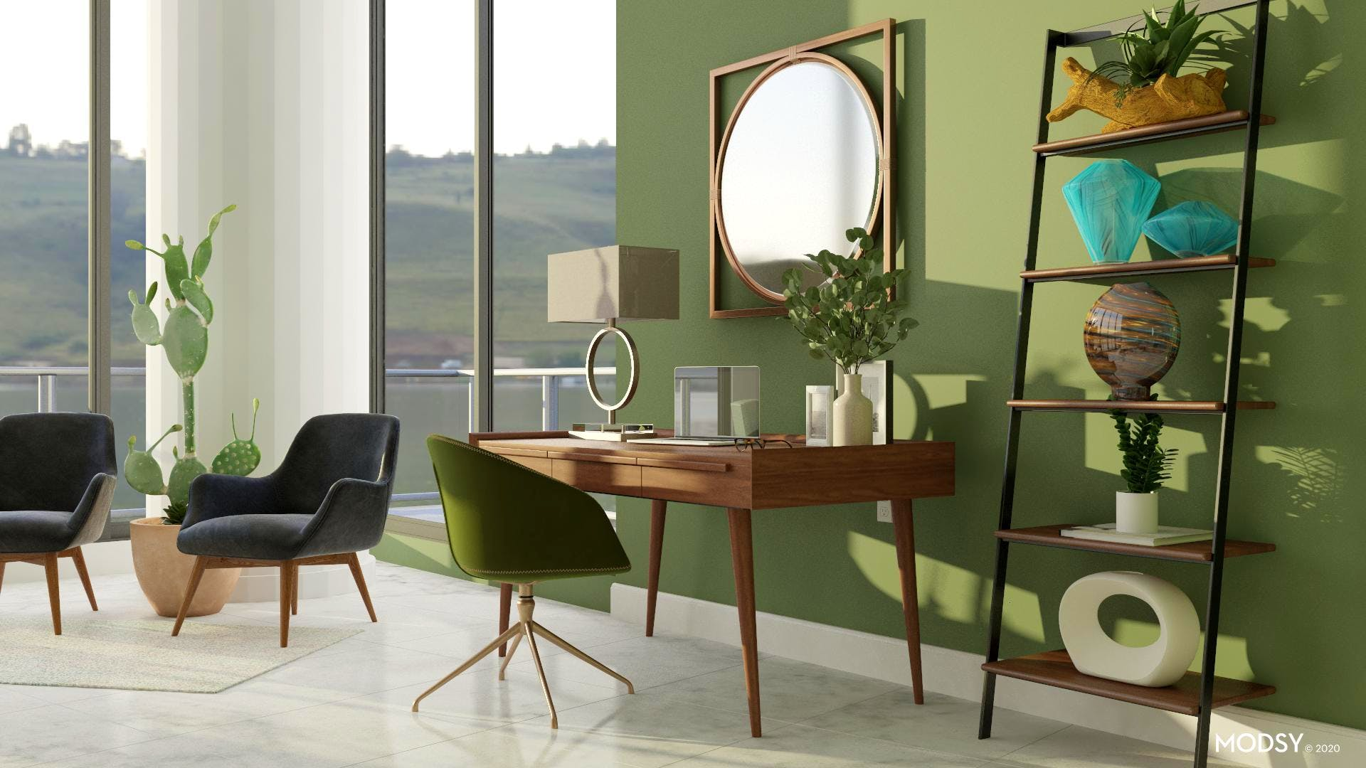 Modern Elements | Mid-Century Modern-Style Home Office ...